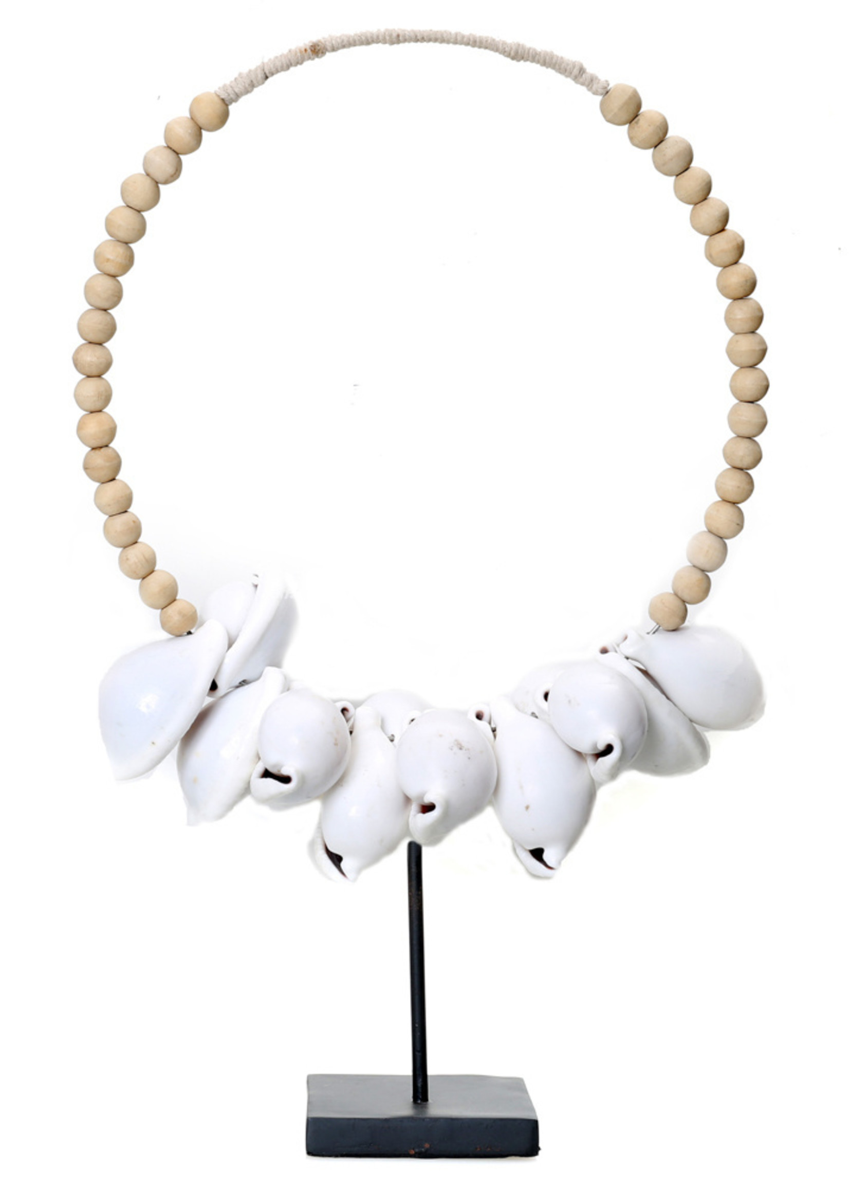 The White Cowrie Necklace Natural Wood on Stand