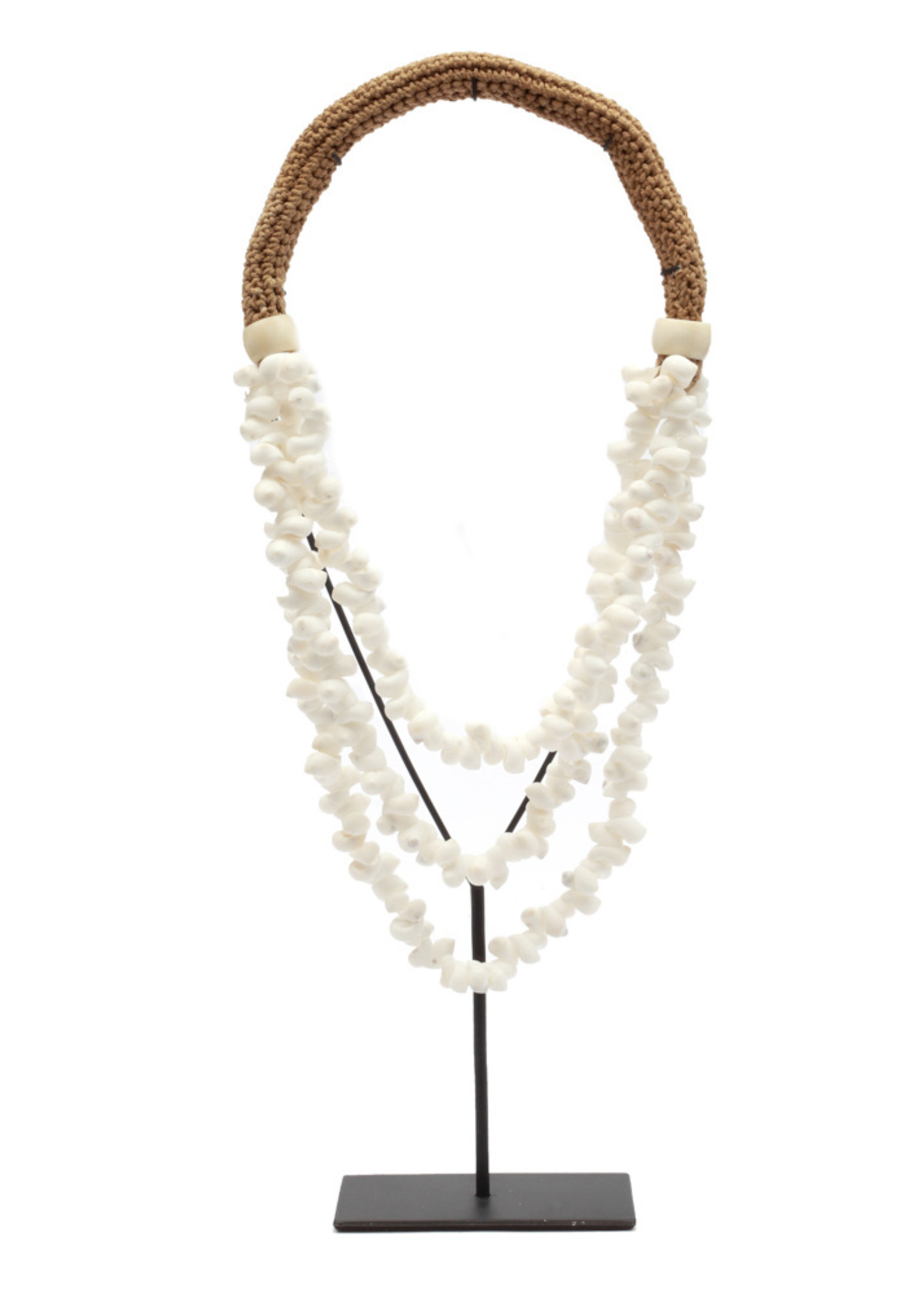 The White Shell Necklace on Stand