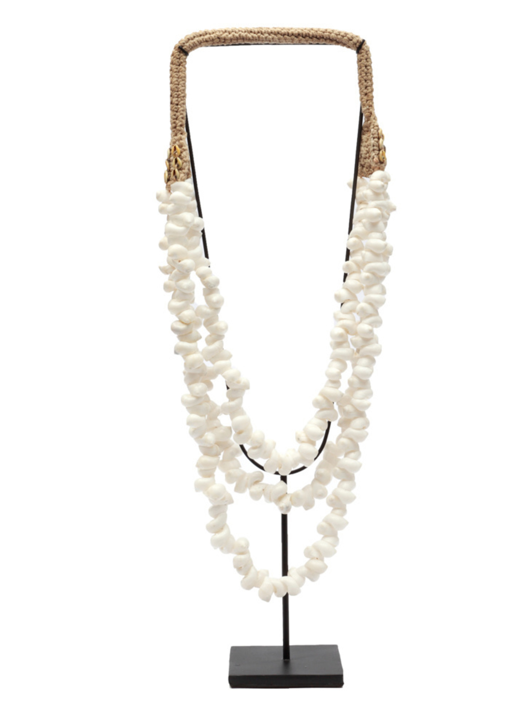 The White Coastal Shell Necklace on Stand
