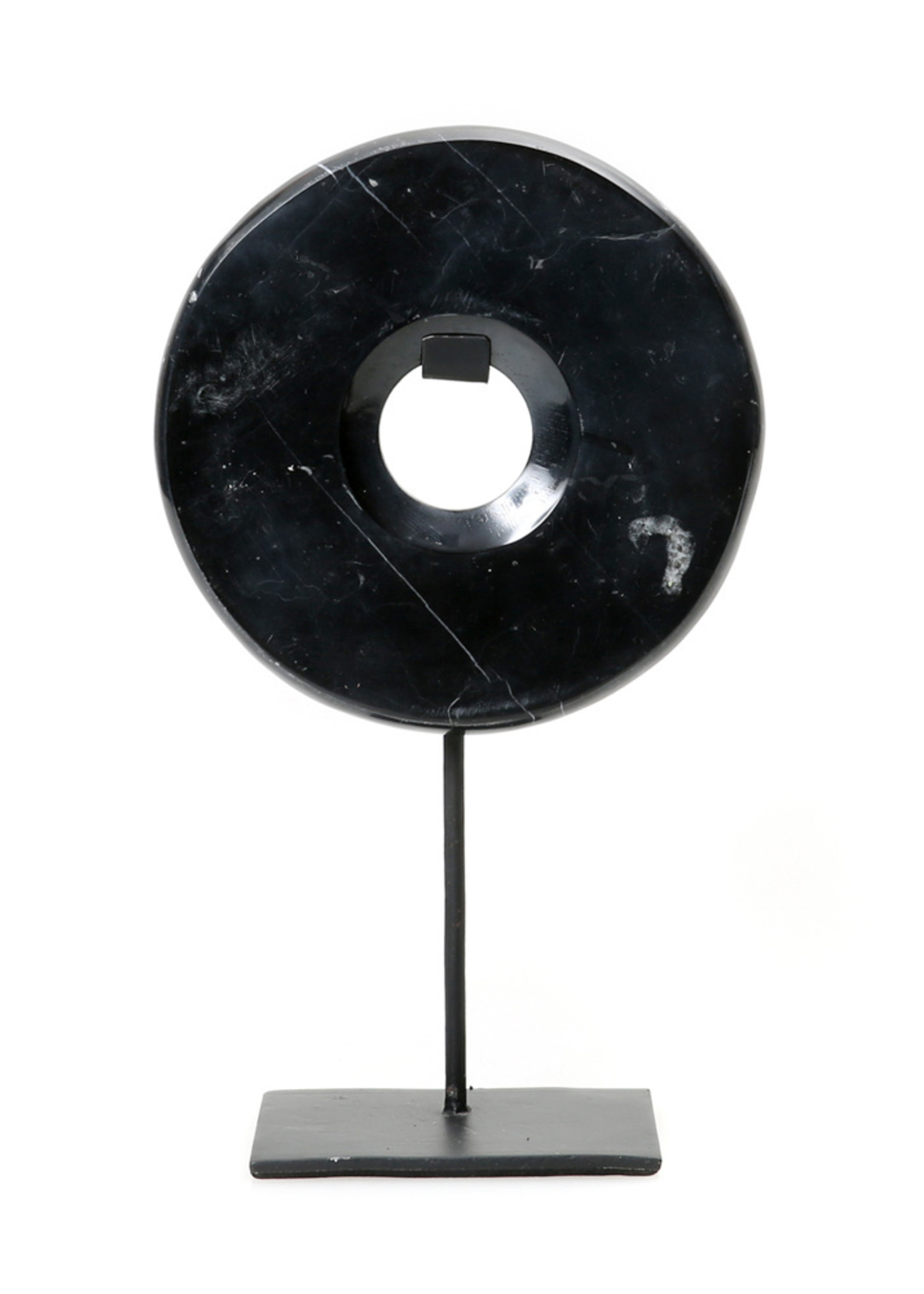 The Marble Disc on Stand - Black - M