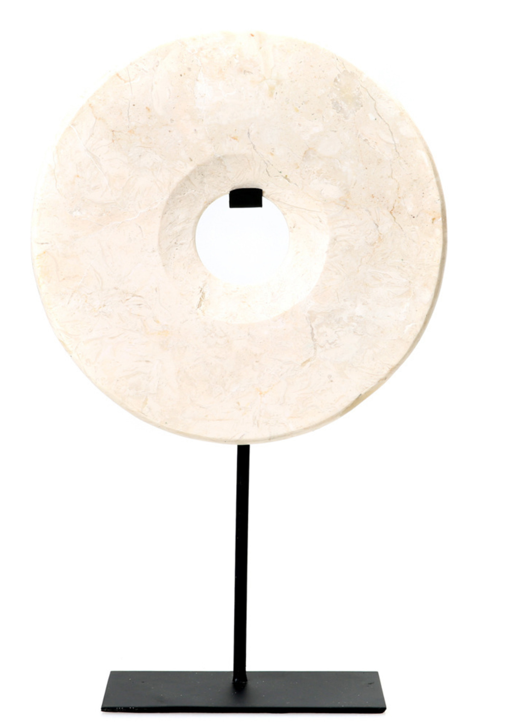The Marble Disc on Stand - White - L