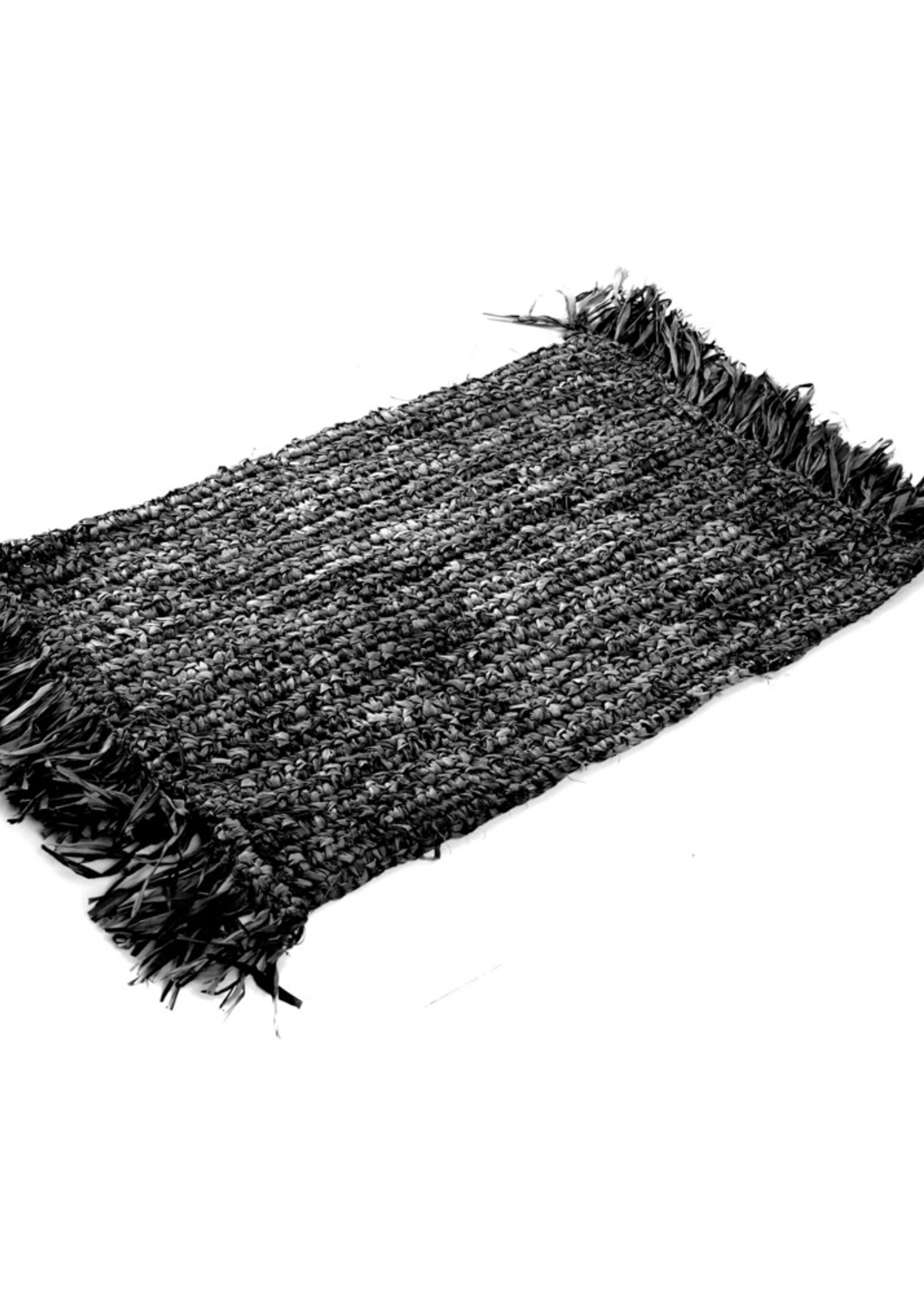 The Fringe Raffia Placemat Rectangular - Black