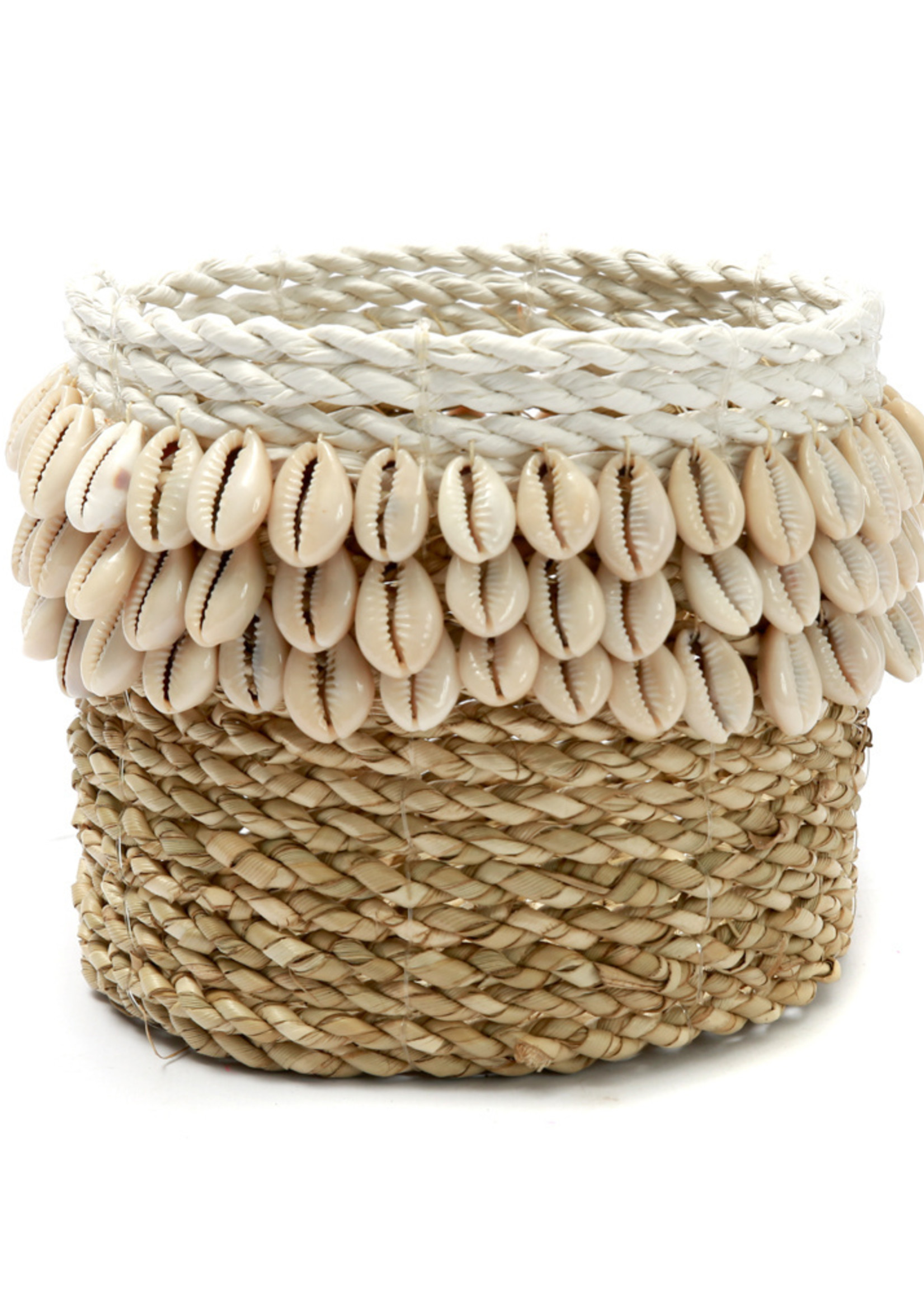 The Weaved Cowrie Basket #1 - Natural White