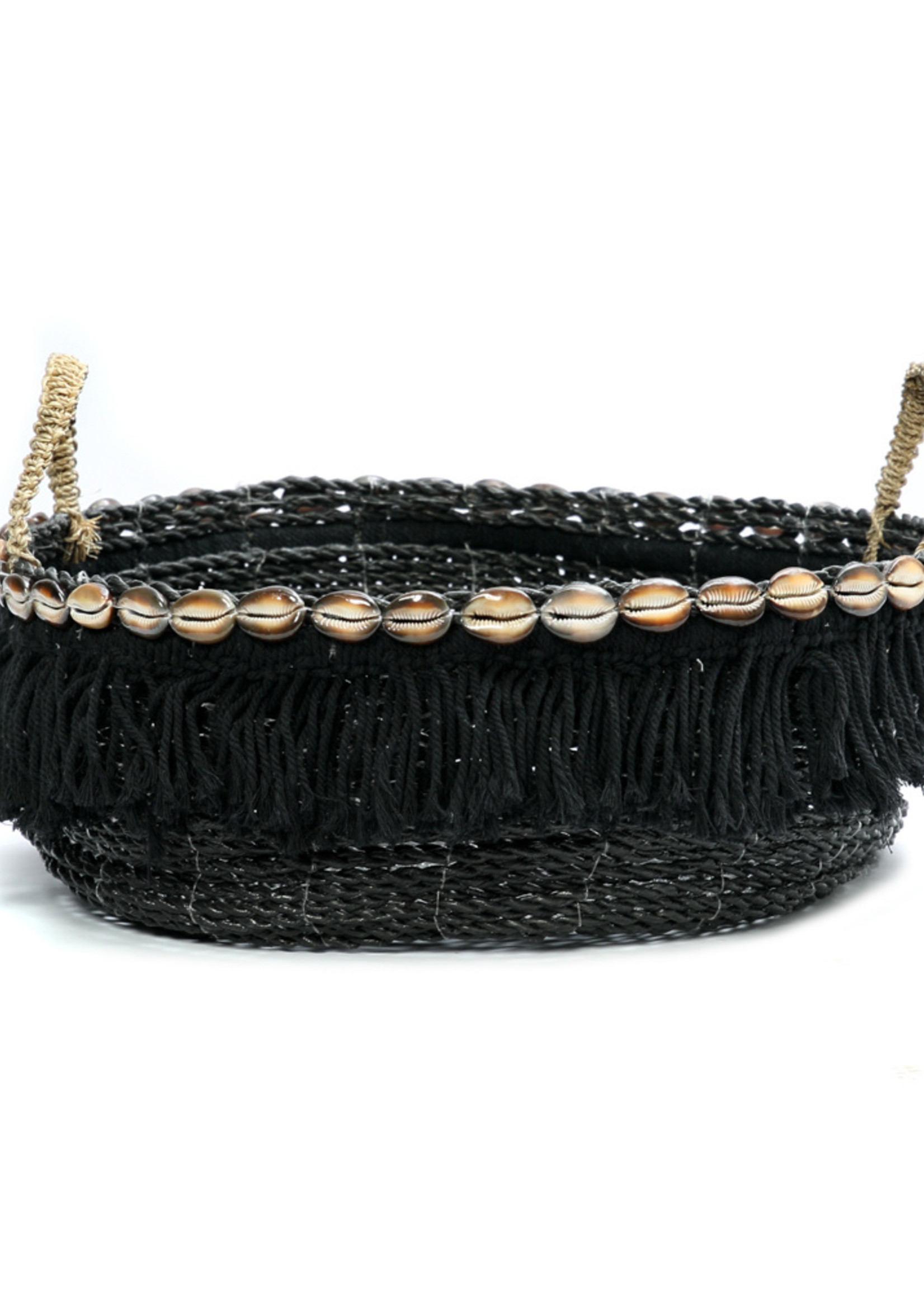 The Boho Fringe Basket - Black Natural