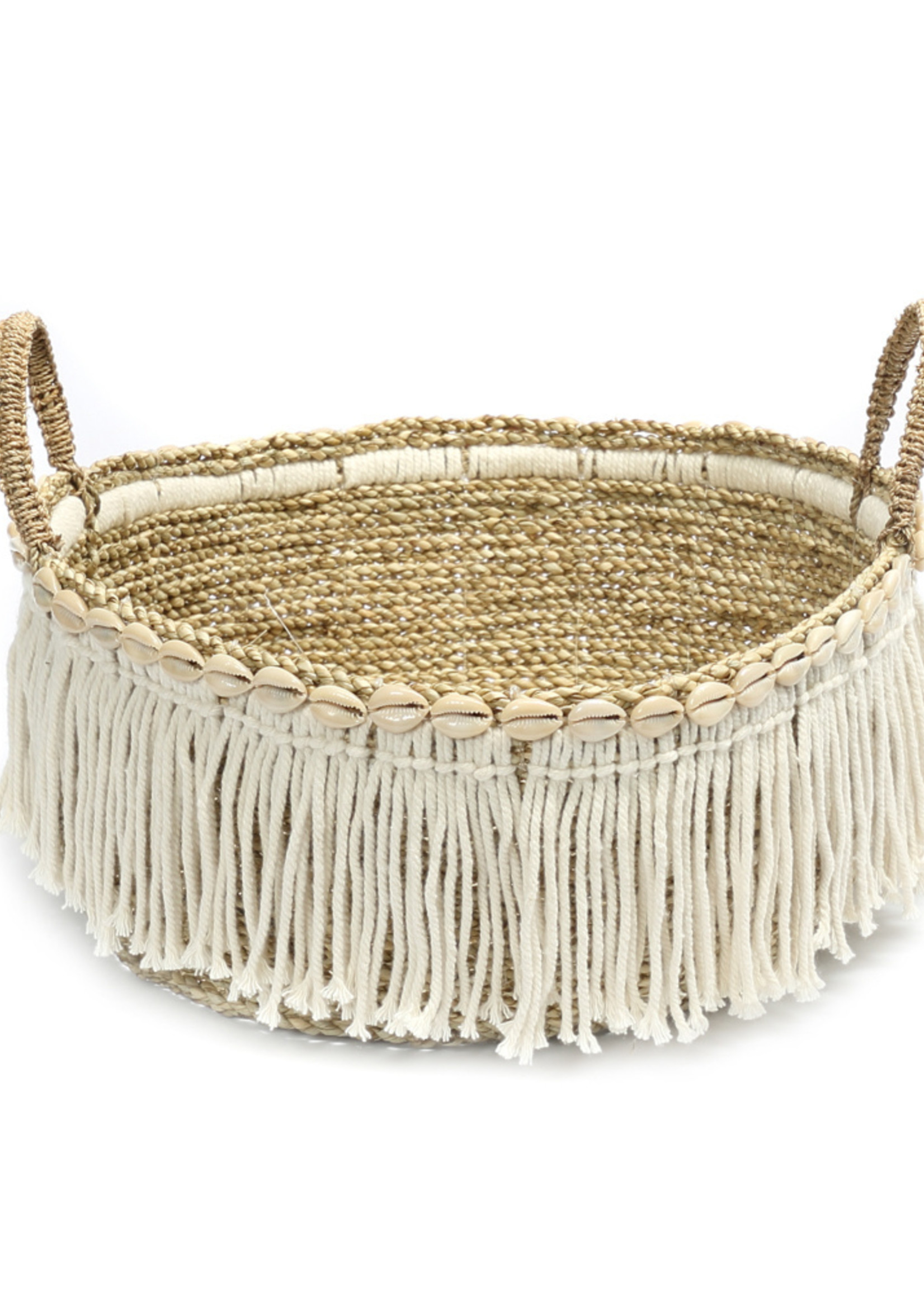 The Boho Fringe Basket - Natural White
