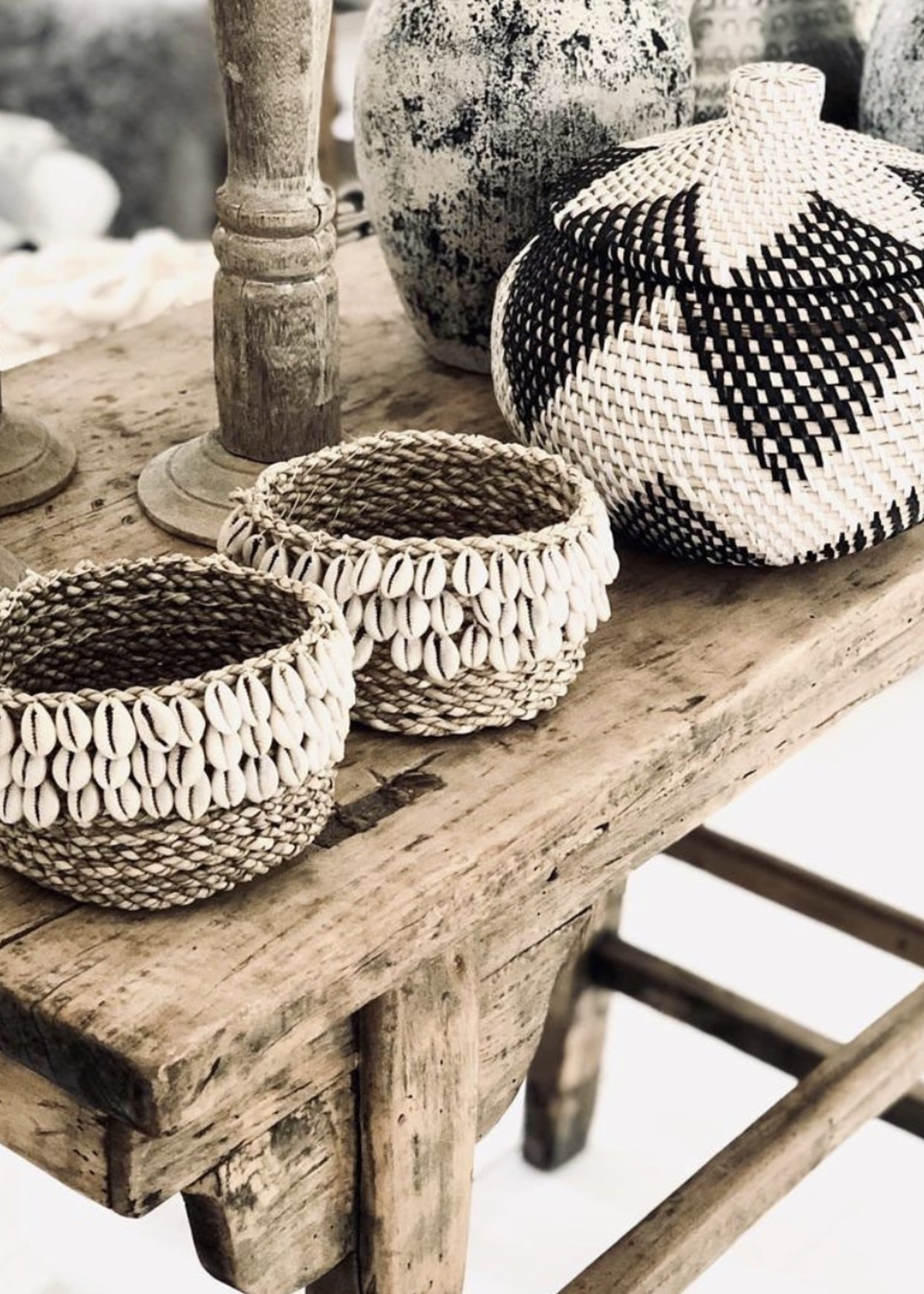 The Weaved Cowrie Basket #3 - Natural