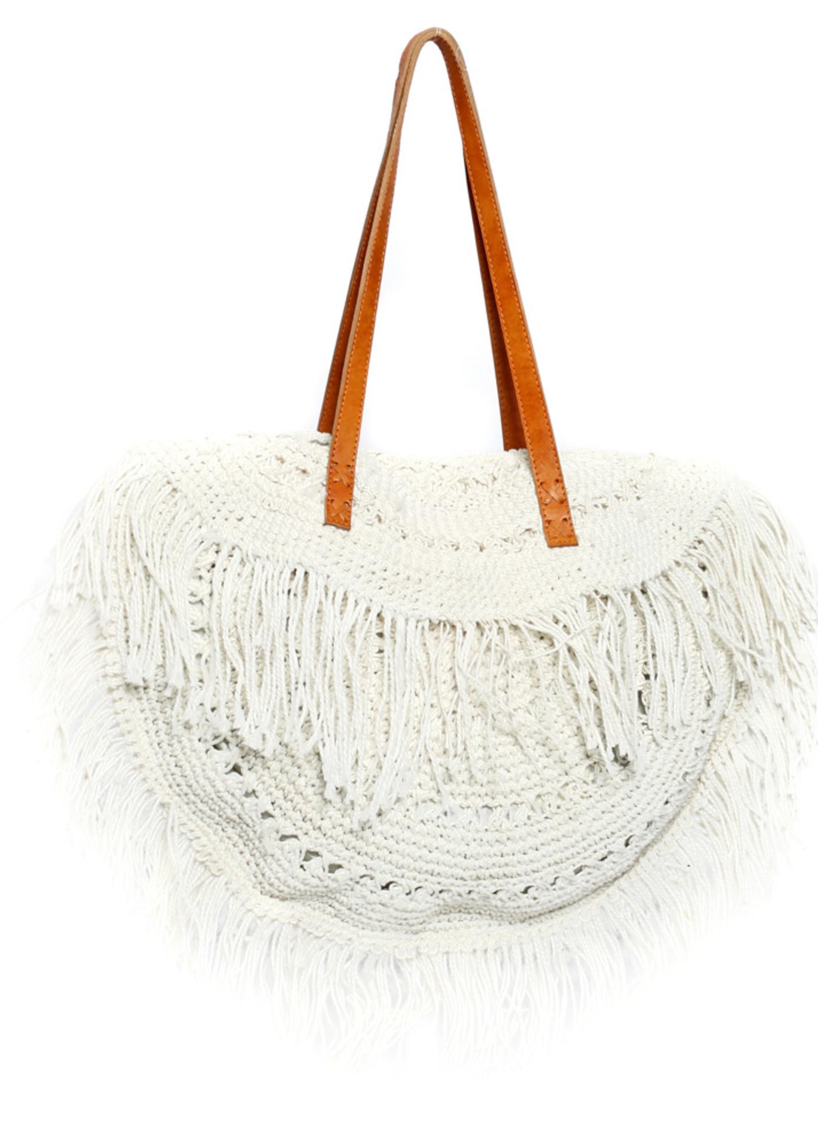 The Fringed Tulum Bag - White