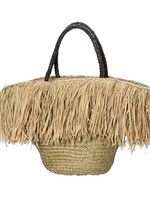 The Fringe Raffia Basket with Leather Handle