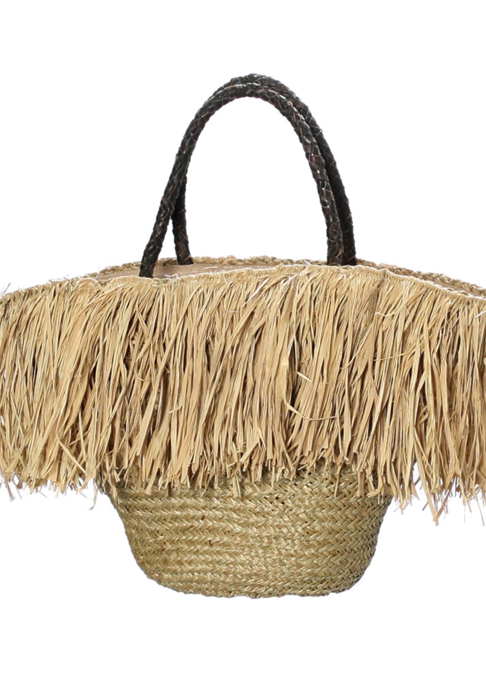 The Fringe Raffia Basket with Leather Handle - Natural