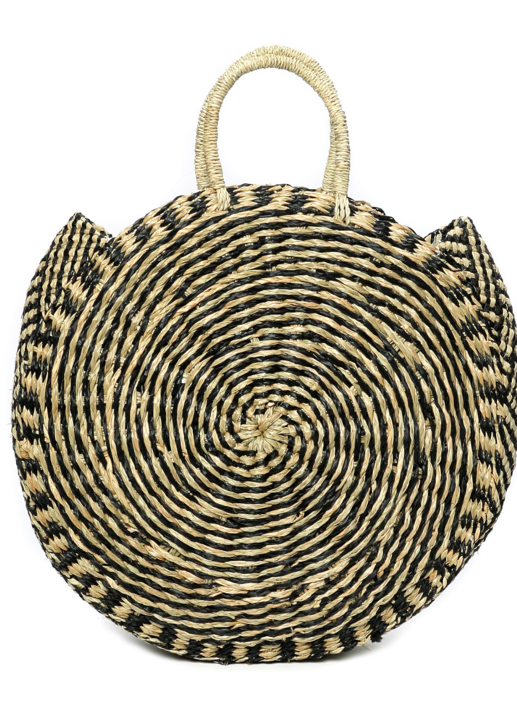 The Seagrass Twisted Roundi Bag  - Natural Black - L
