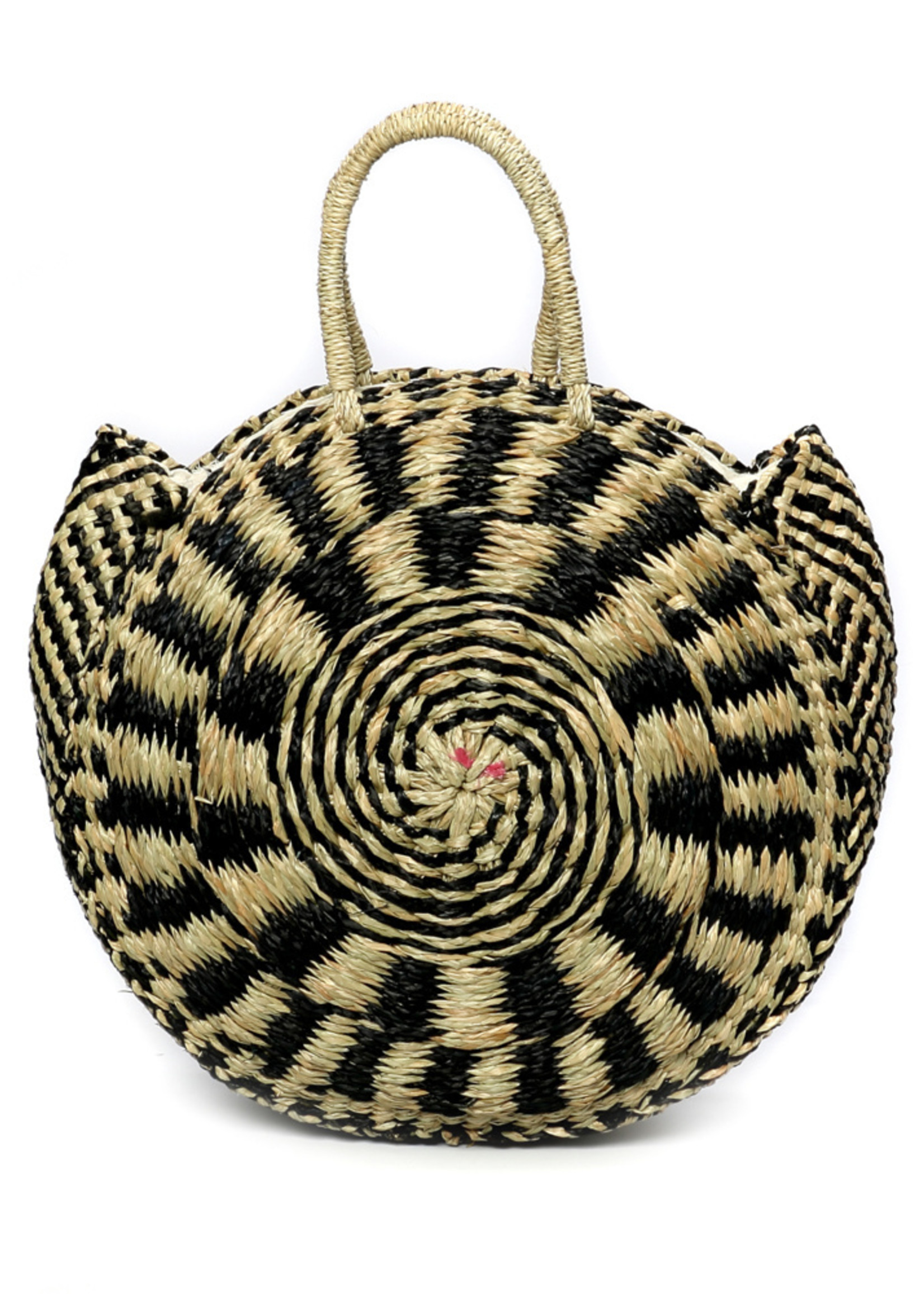 The Seagrass Pied Roundi Bag  - Natural Black - M