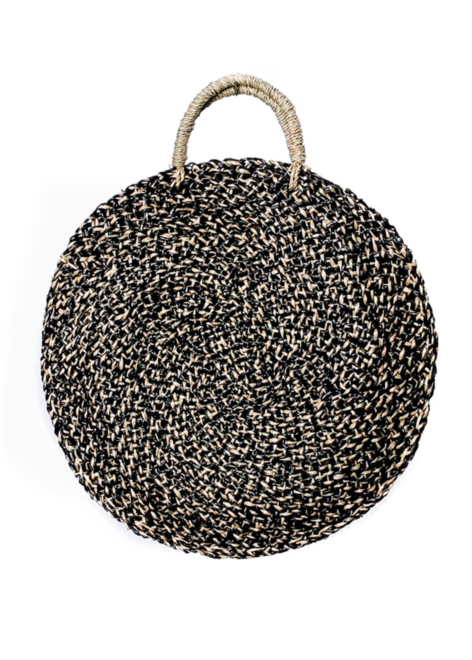 The Seagrass Spotted Roundi Bag  - Natural Black - M