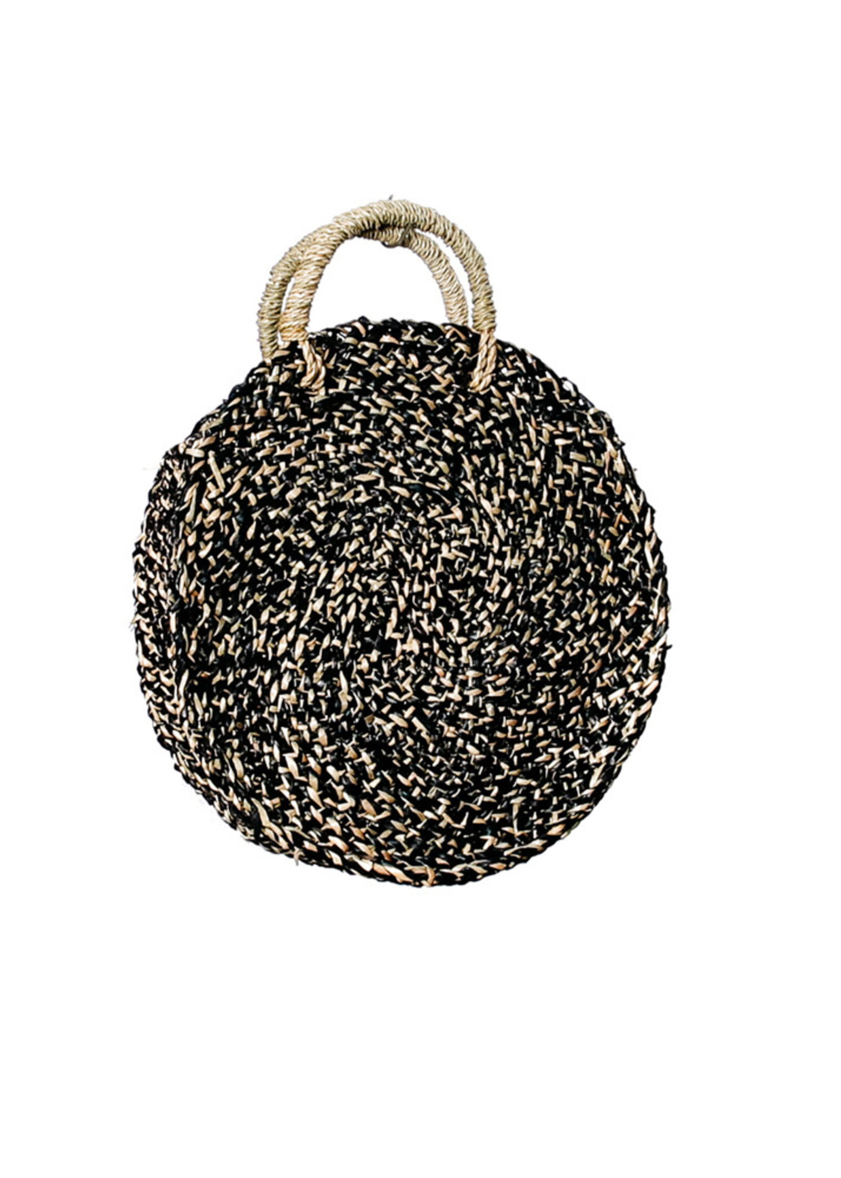 The Seagrass Spotted Roundi Bag  - Natural Black - S
