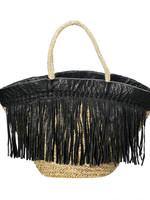 The Black Leather Fringed Basket