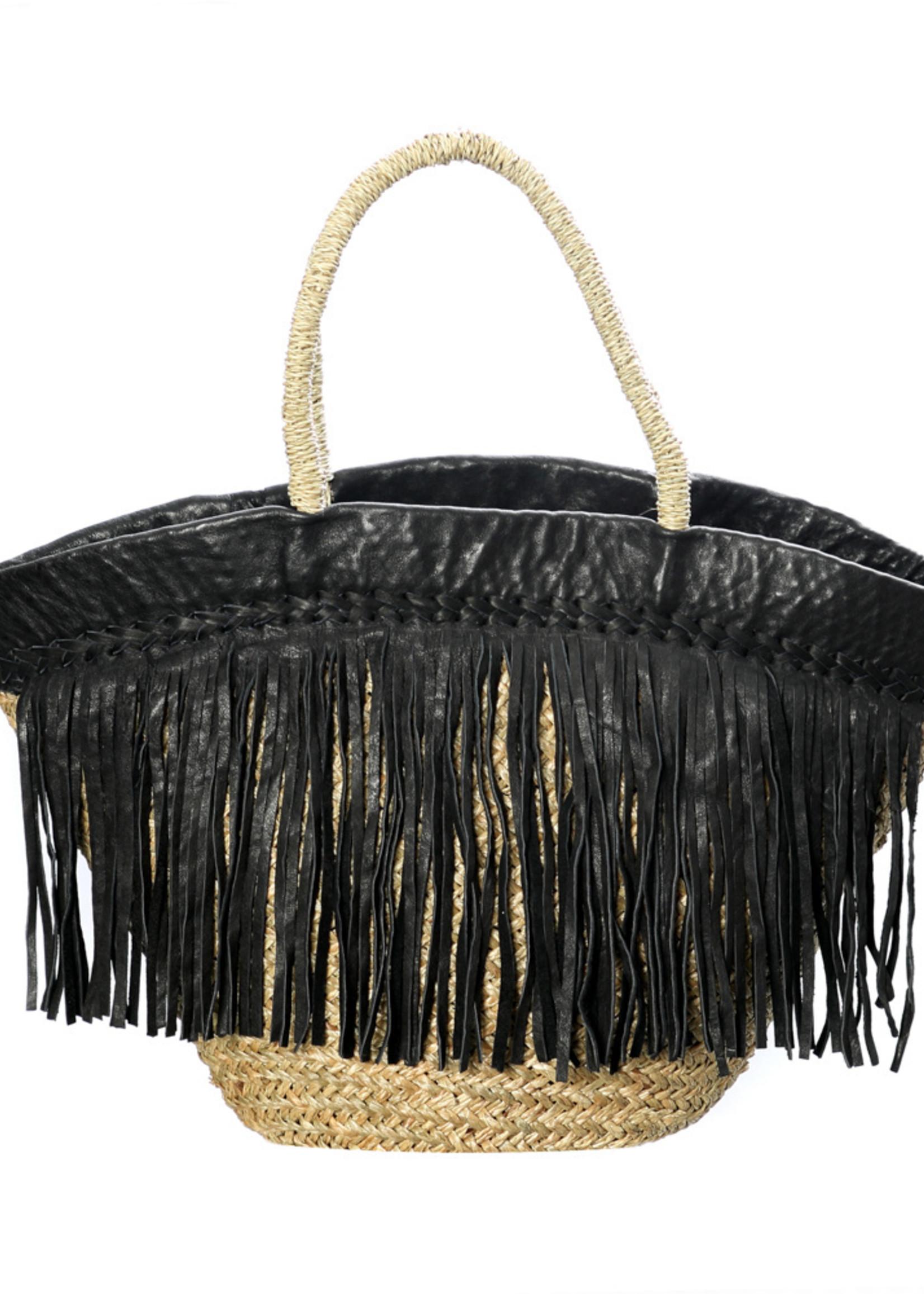 The Black Leather Fringed Basket - Natural Black
