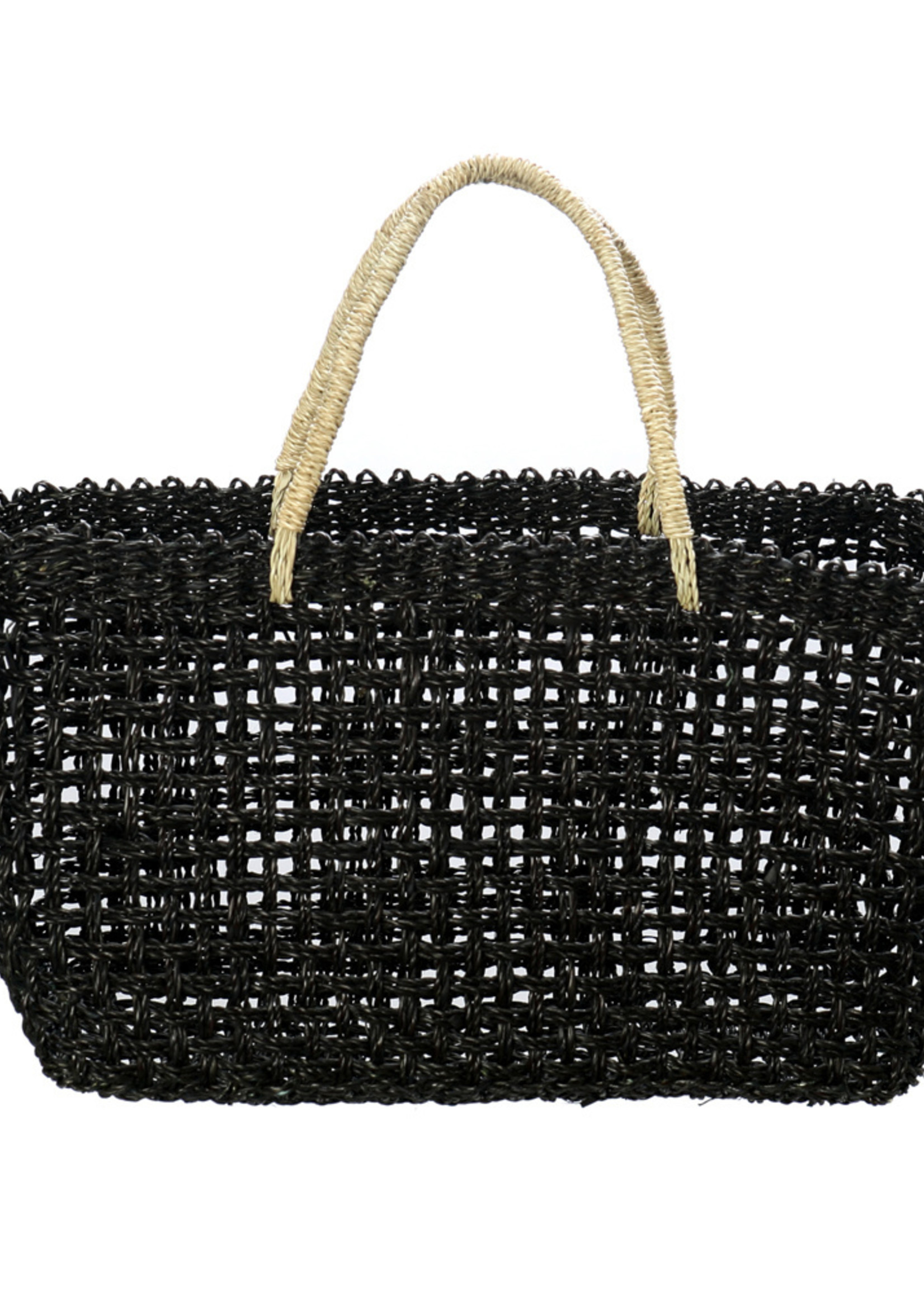 The Seagrass Market Basket - Black Natural - M