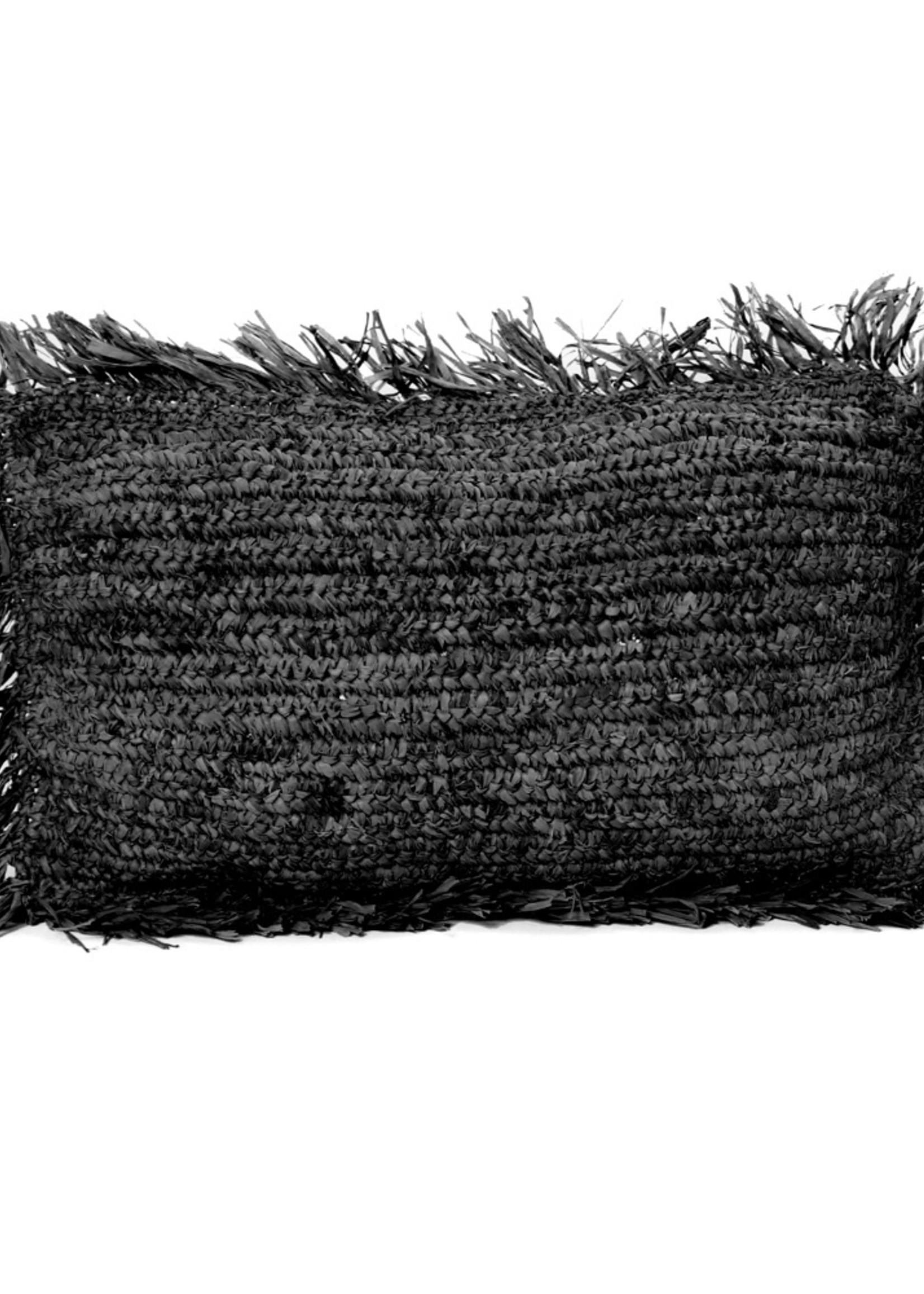 The Raffia Cushion Rectangular - Black
