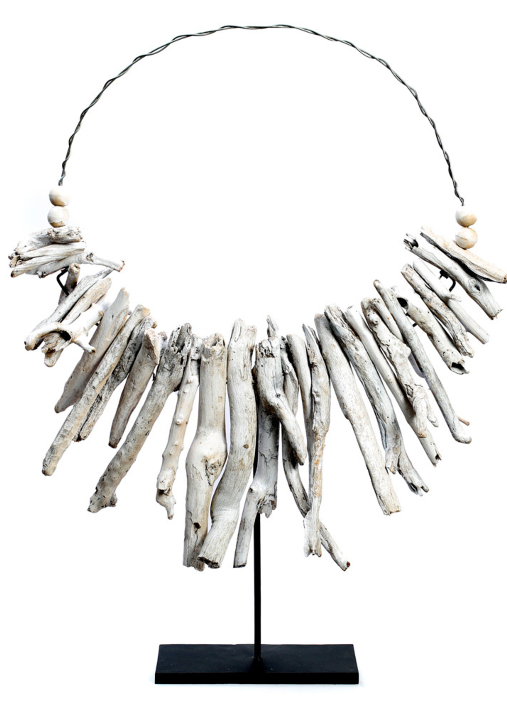 The White Driftwood Necklace on stand