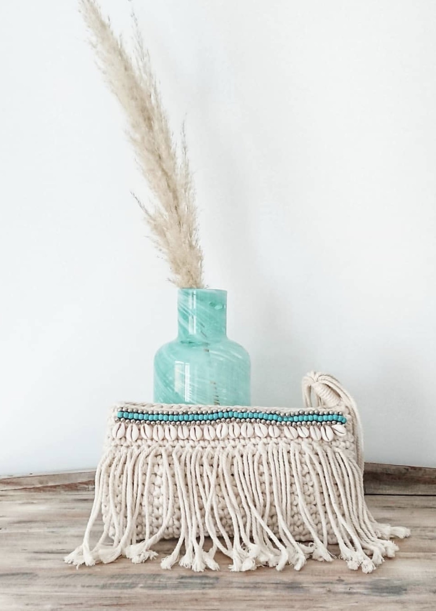 The Clutch Macrame - Turquoise Silver