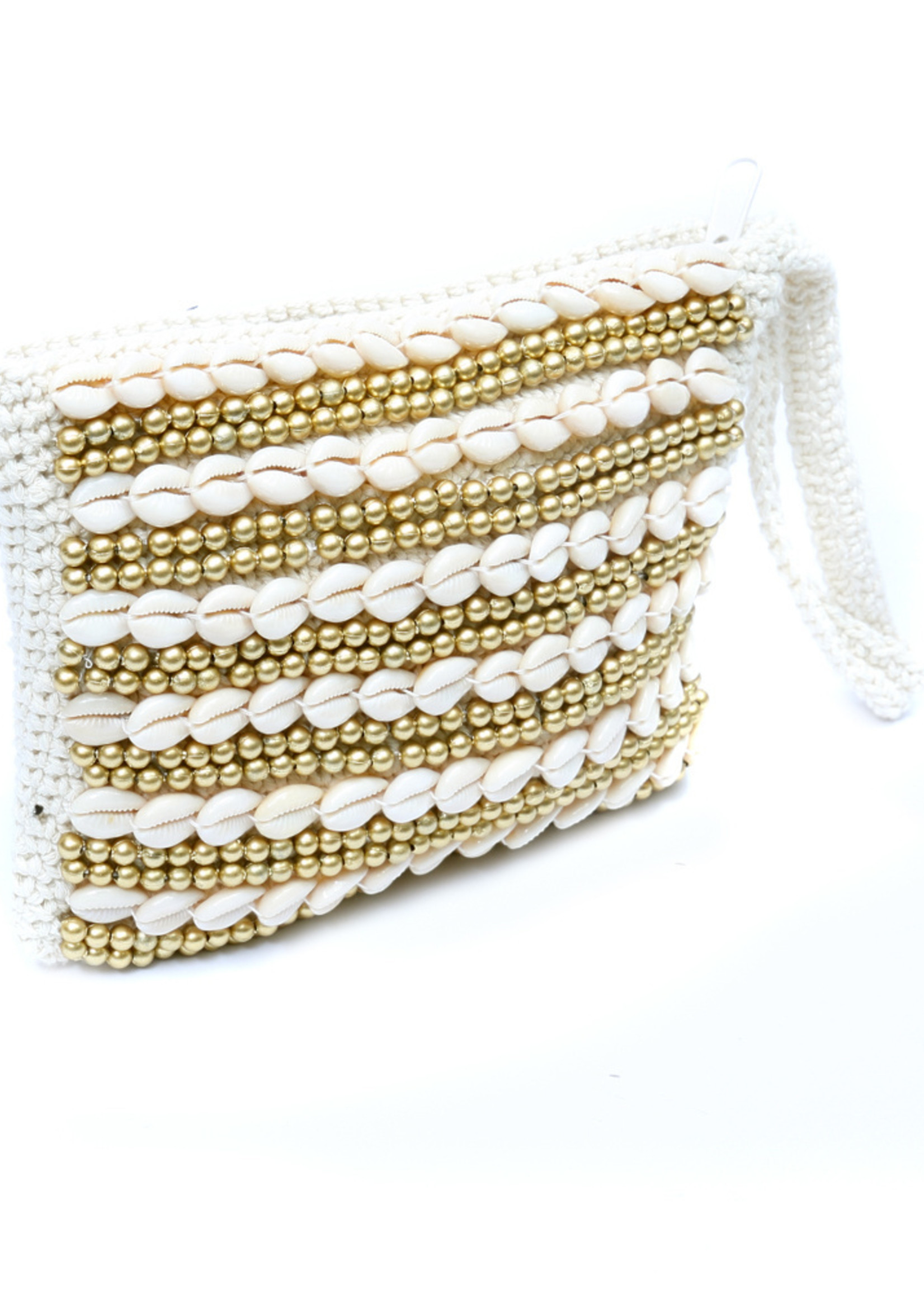 The Clutch Beaded - Natural Gold