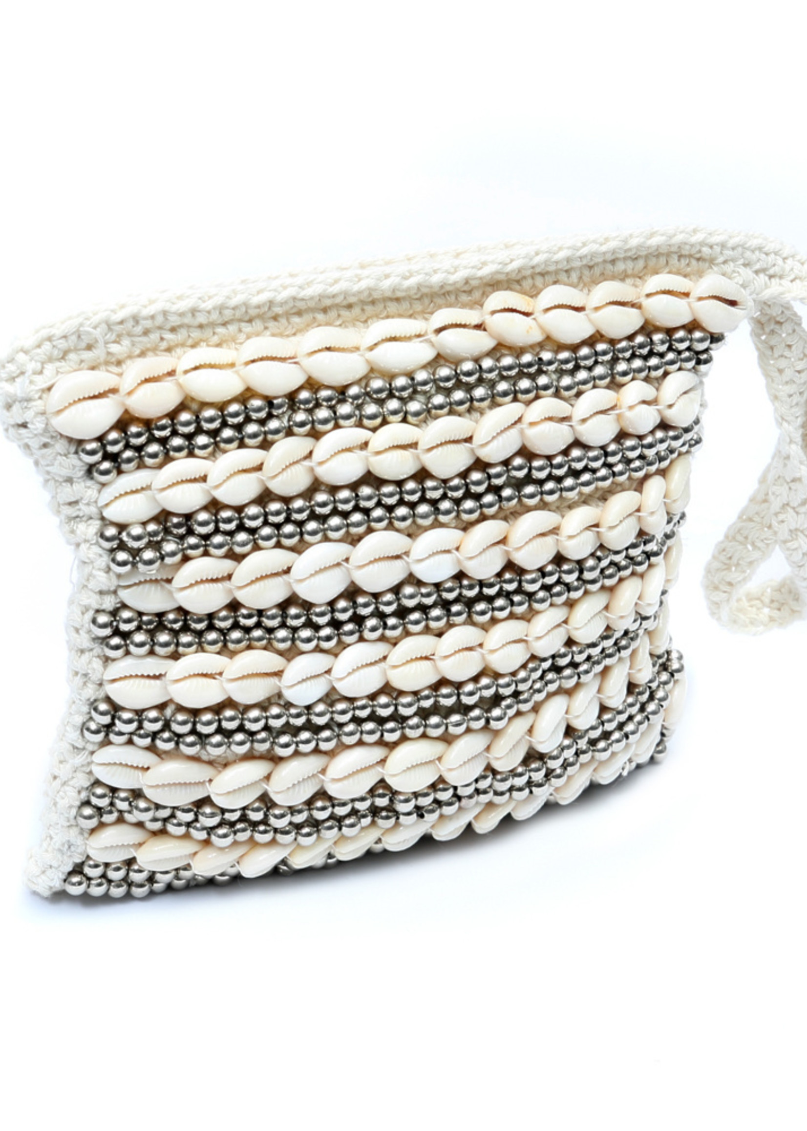 The Clutch Beaded - Natural Silver