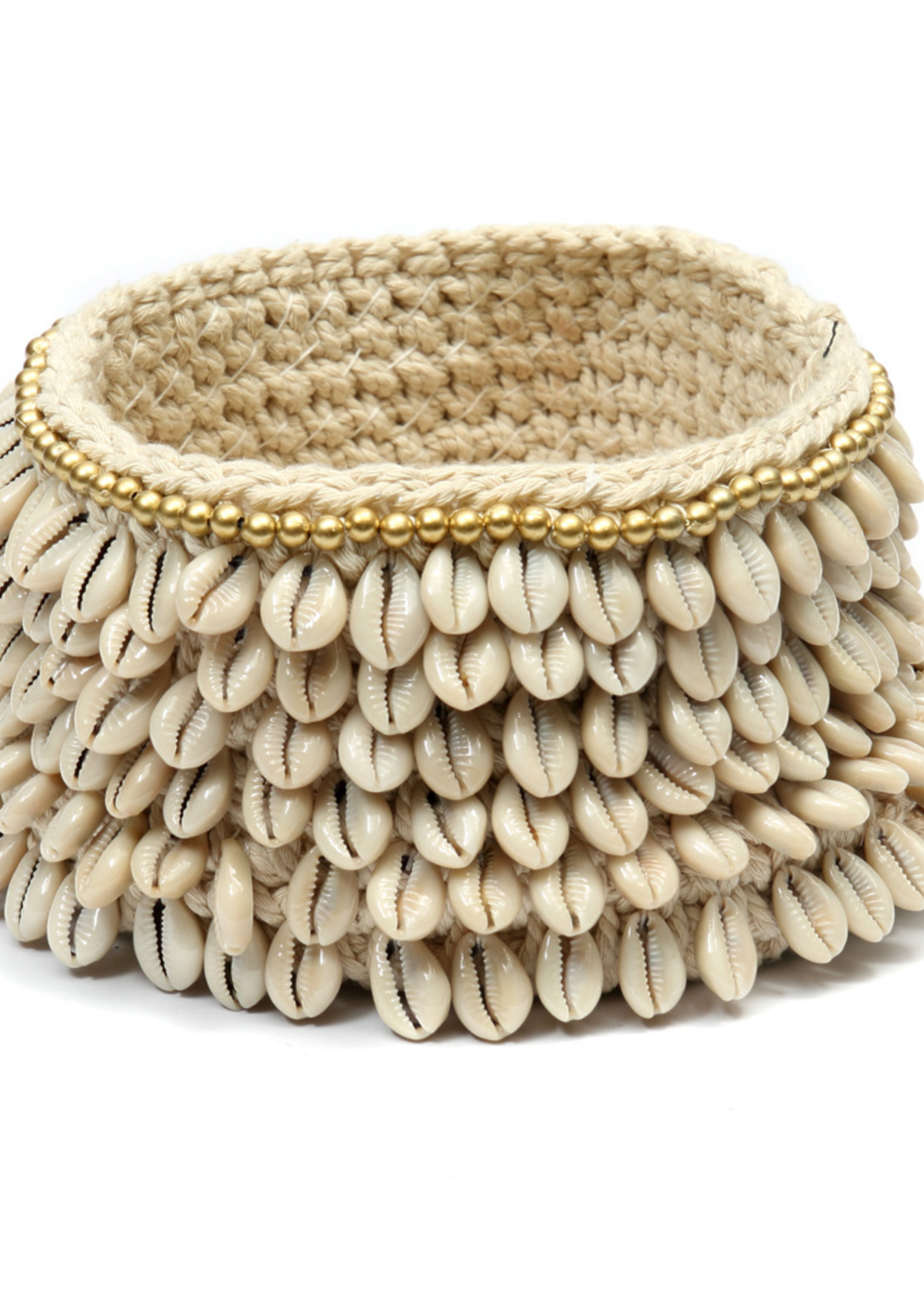 The Gold & Cowrie Macrame Planter - Natural Gold - M