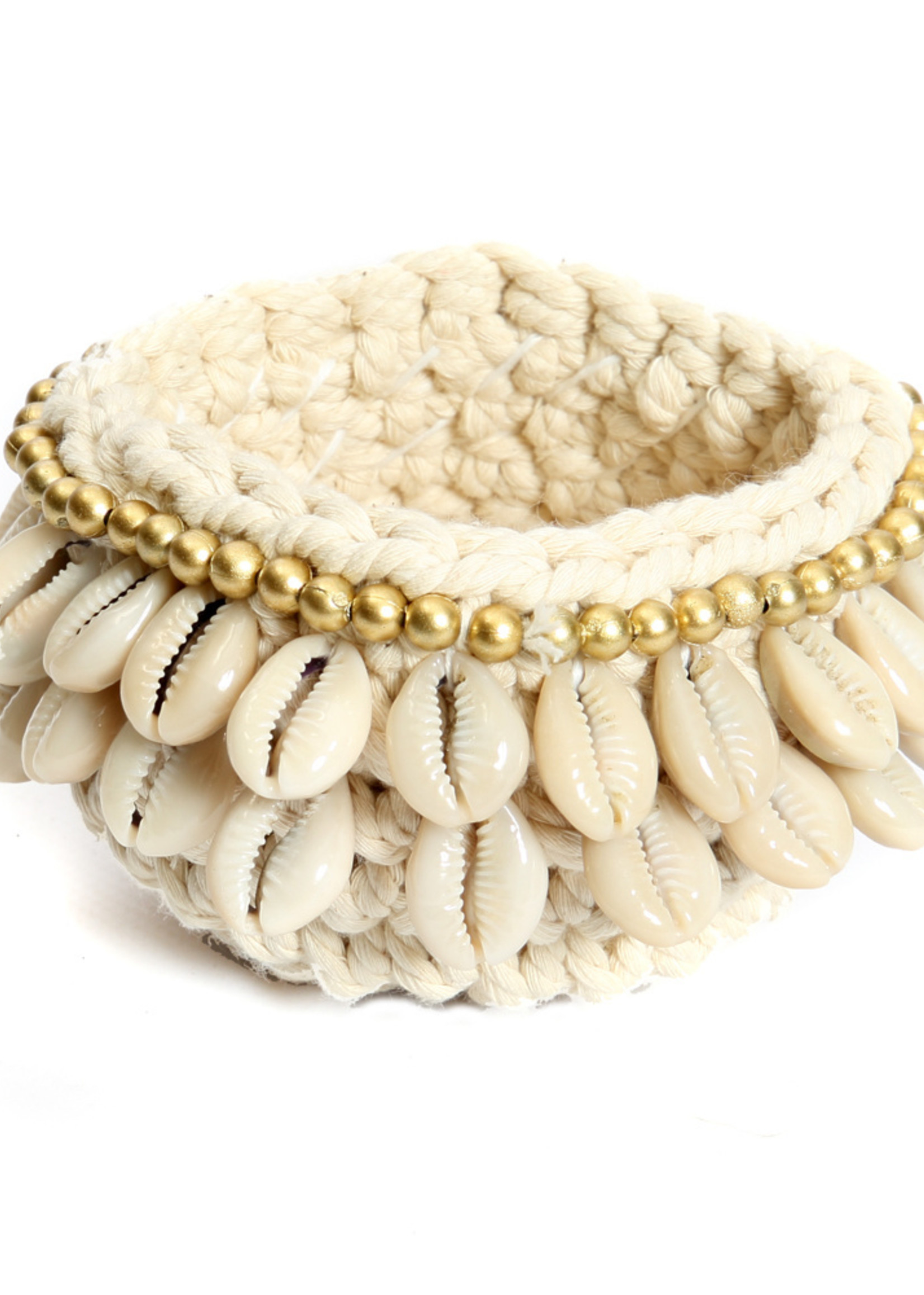 The Gold & Cowrie Macrame Candle Holder - Natural Gold - S
