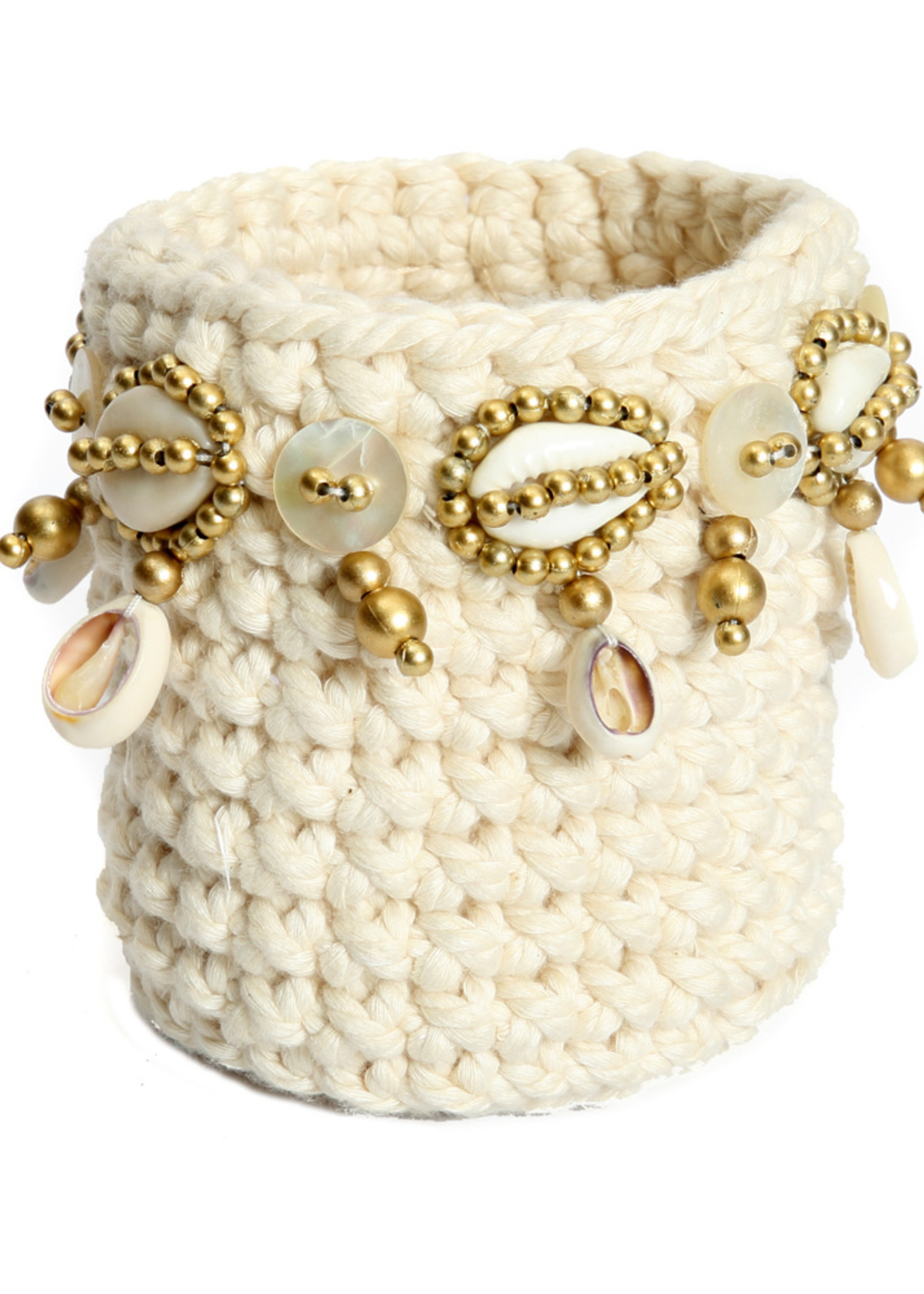 The Gold Macrame Candle Holder - Natural - S