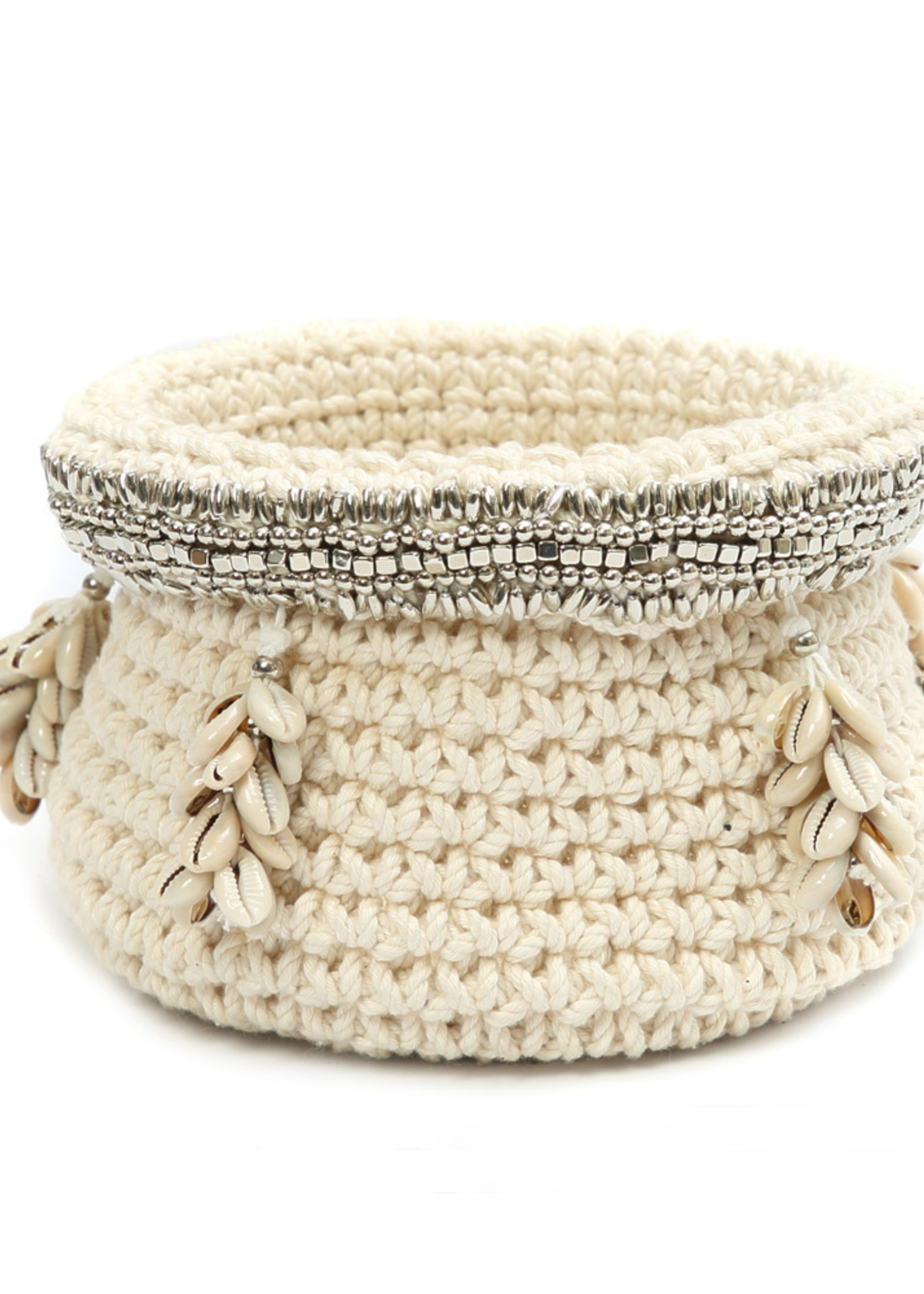 The Silver Beaded Cowrie Planter - Natural Silver - M