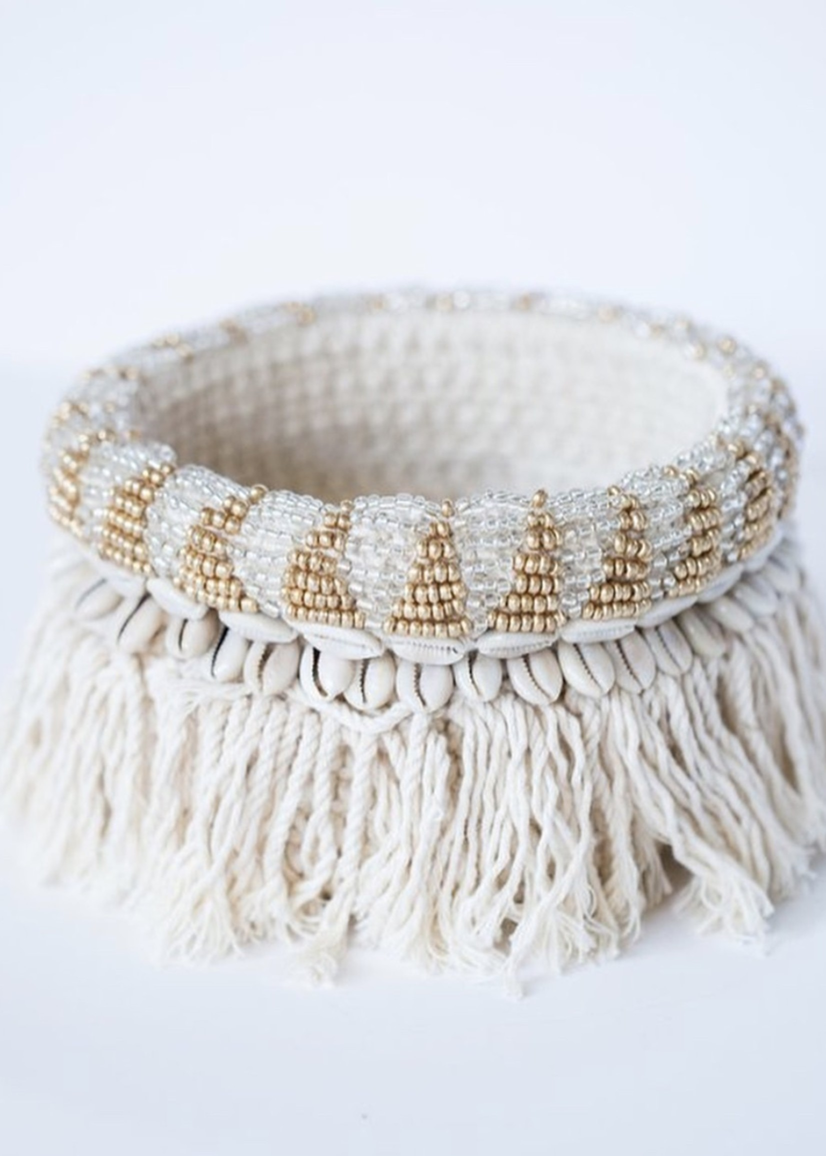 The Gold and Silver Macrame Planter - Natural Gold Silver M