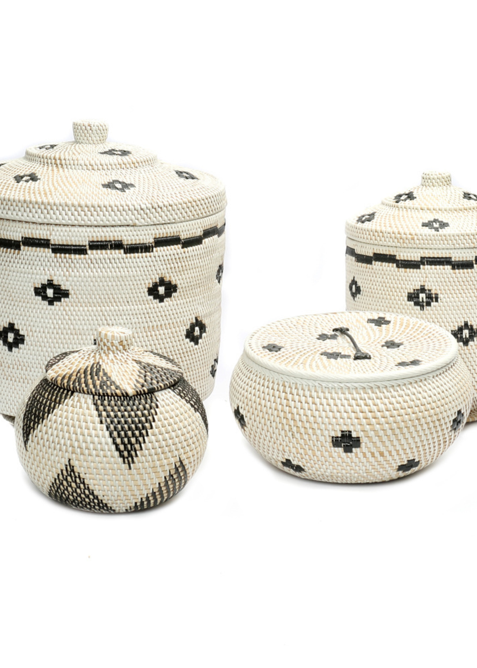 The Sticky Rice Basket - White Black - S