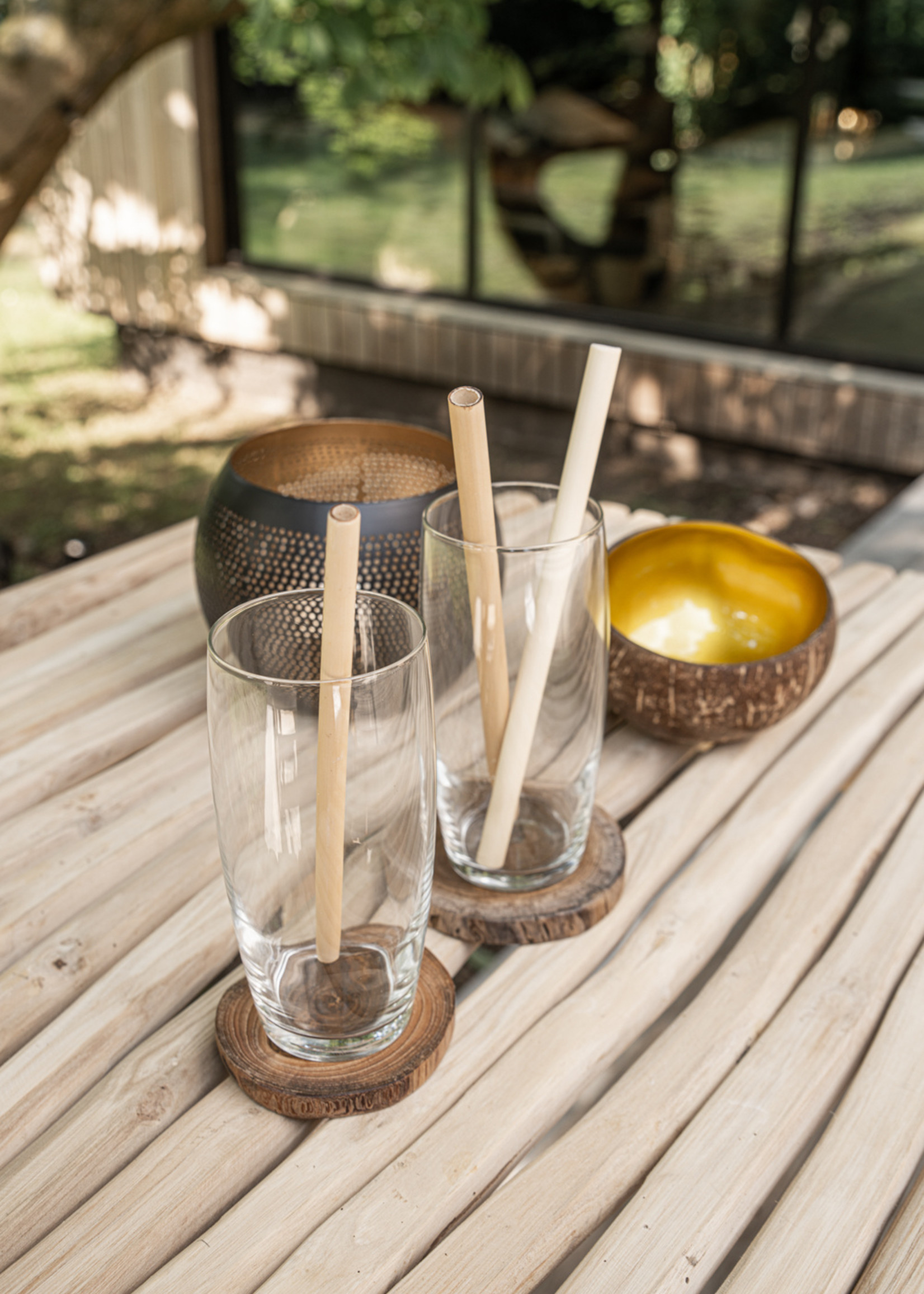 The Bamboo Straws - Set of 10 With Cleaning Brush