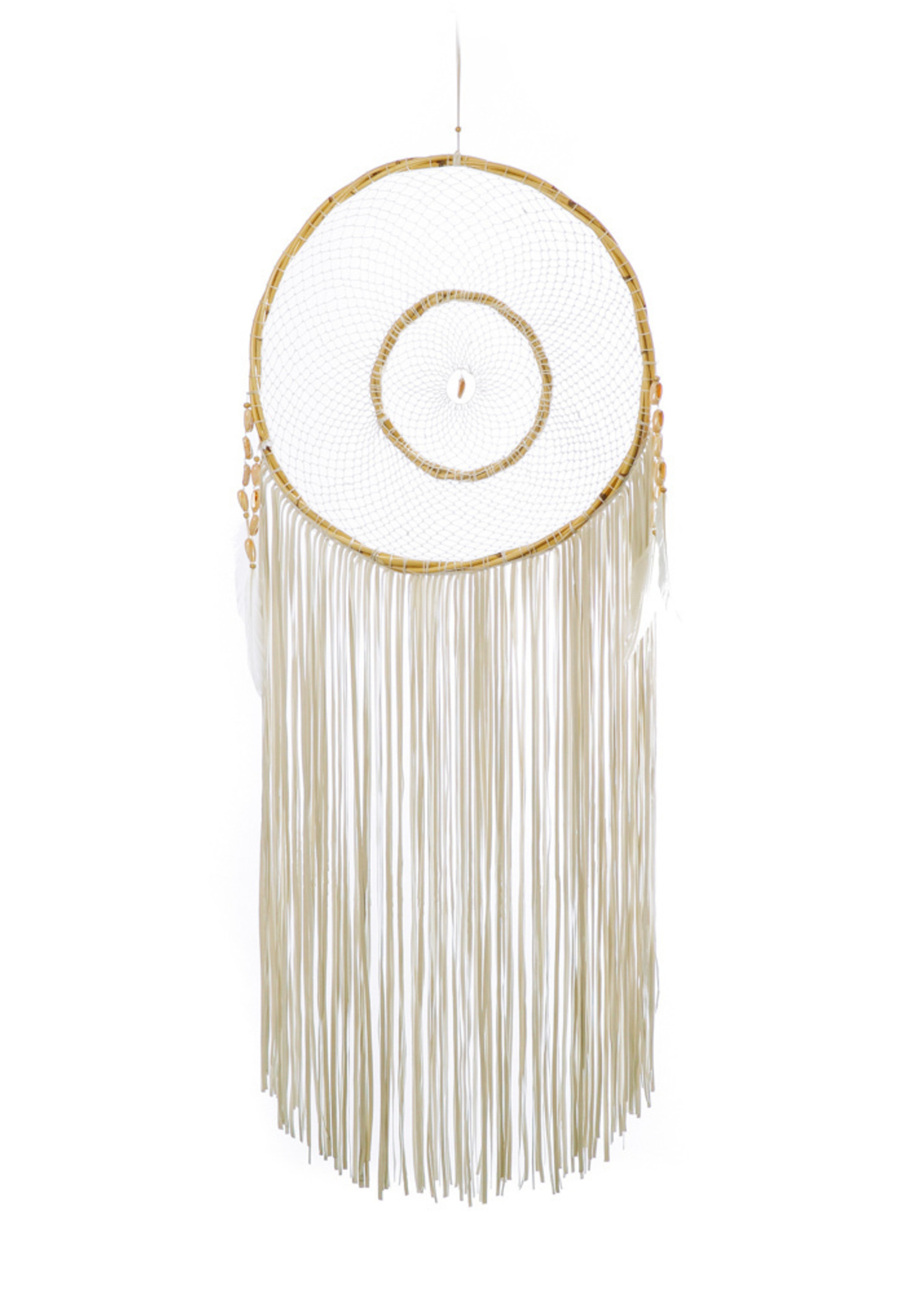 The Tulum Dreamer with Leather Fringes - White