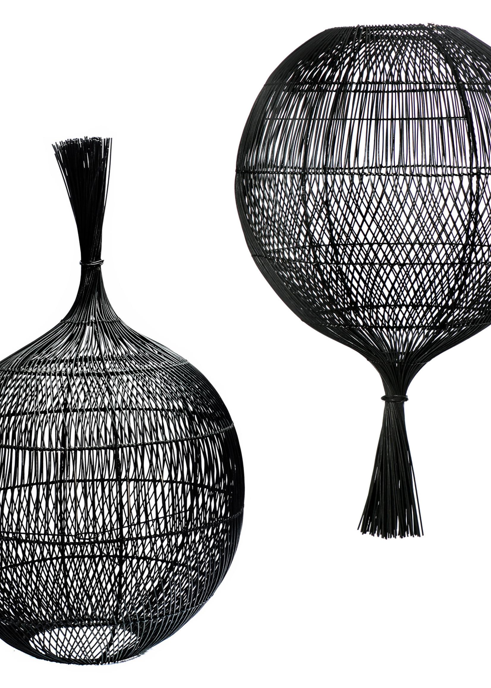 The Rattan Wonton Floor Lamp - Pendant - Black