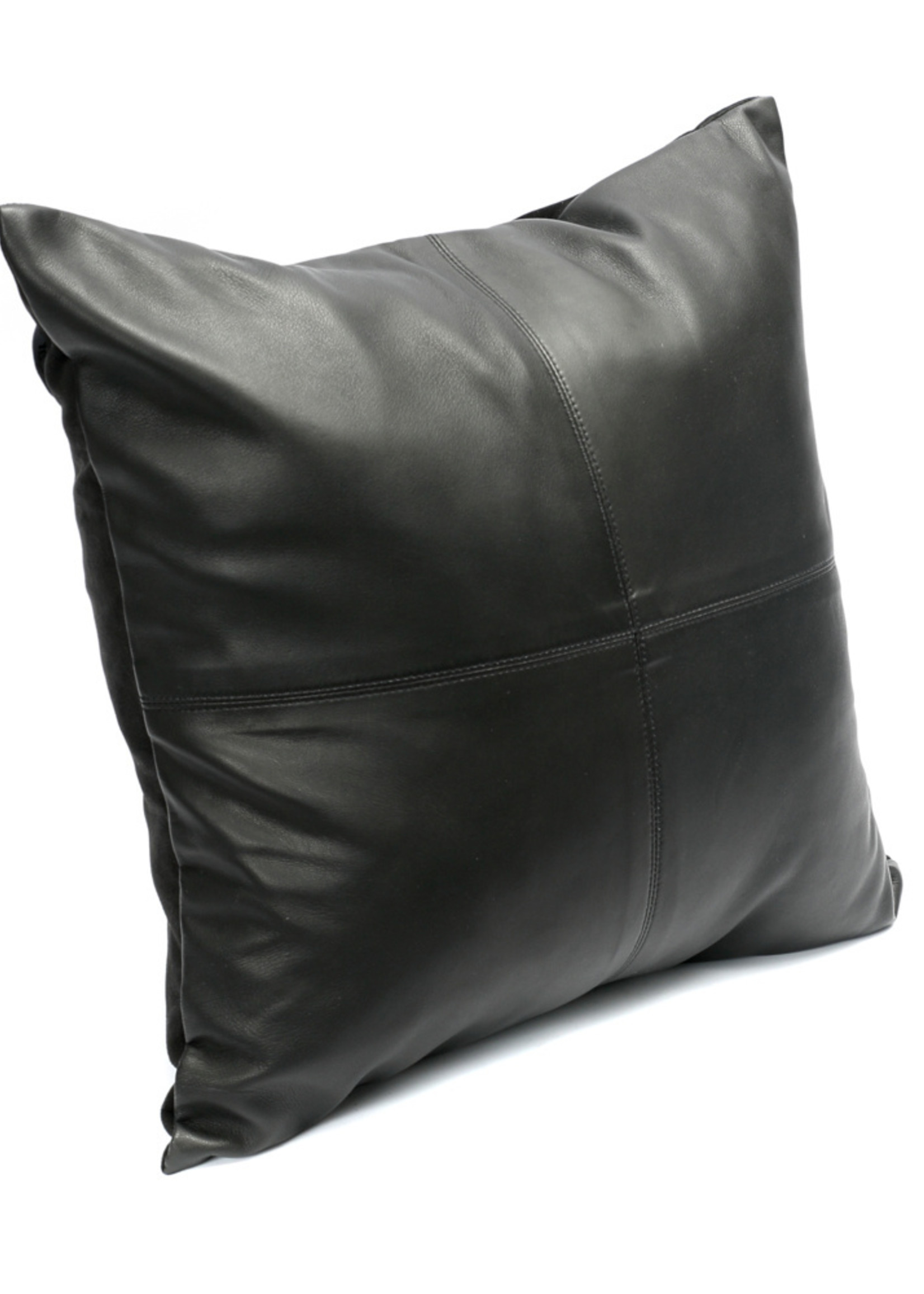 The Four Leather Panel Cushion - Black