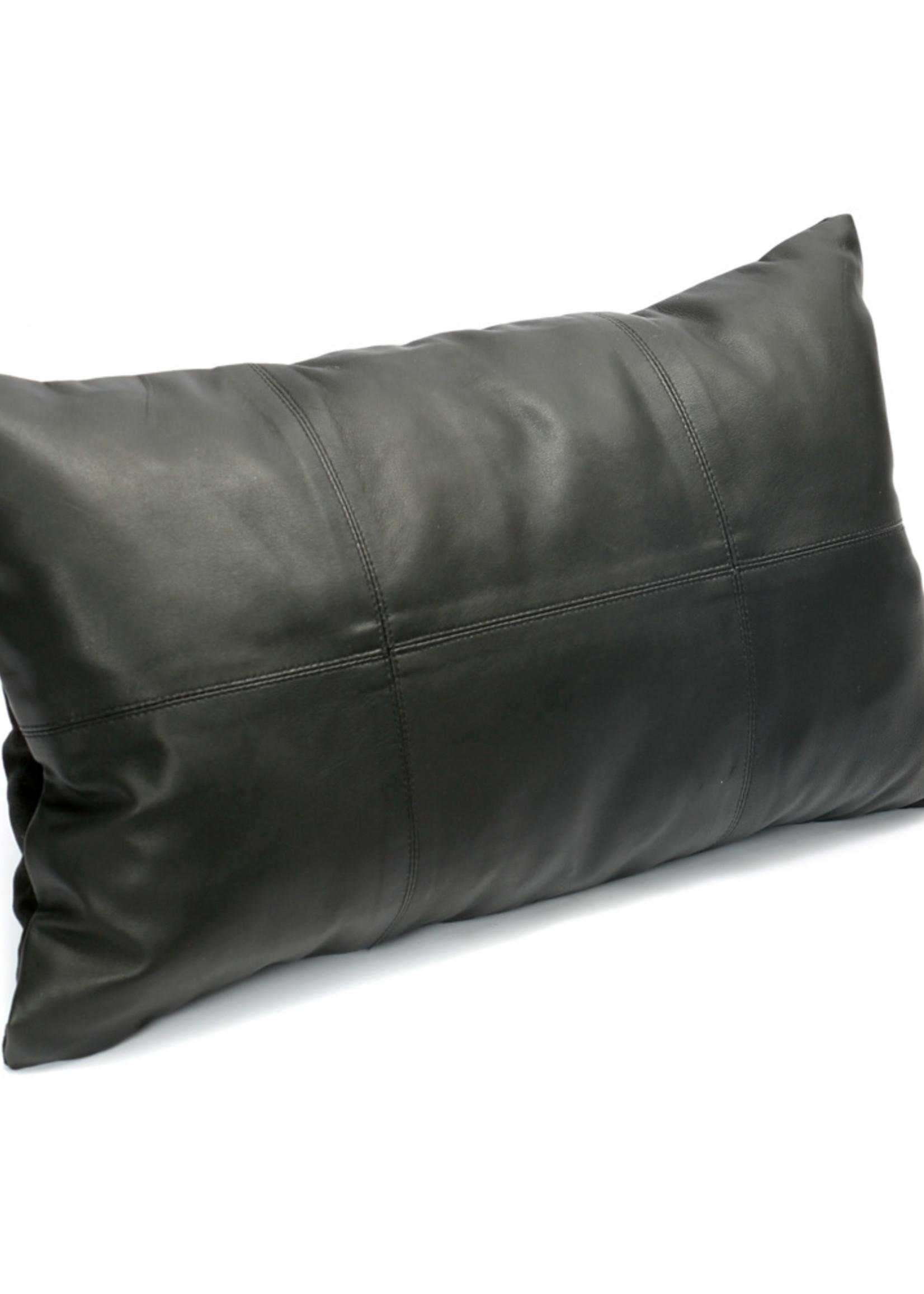 The Six Leather Panel Cushion - Black