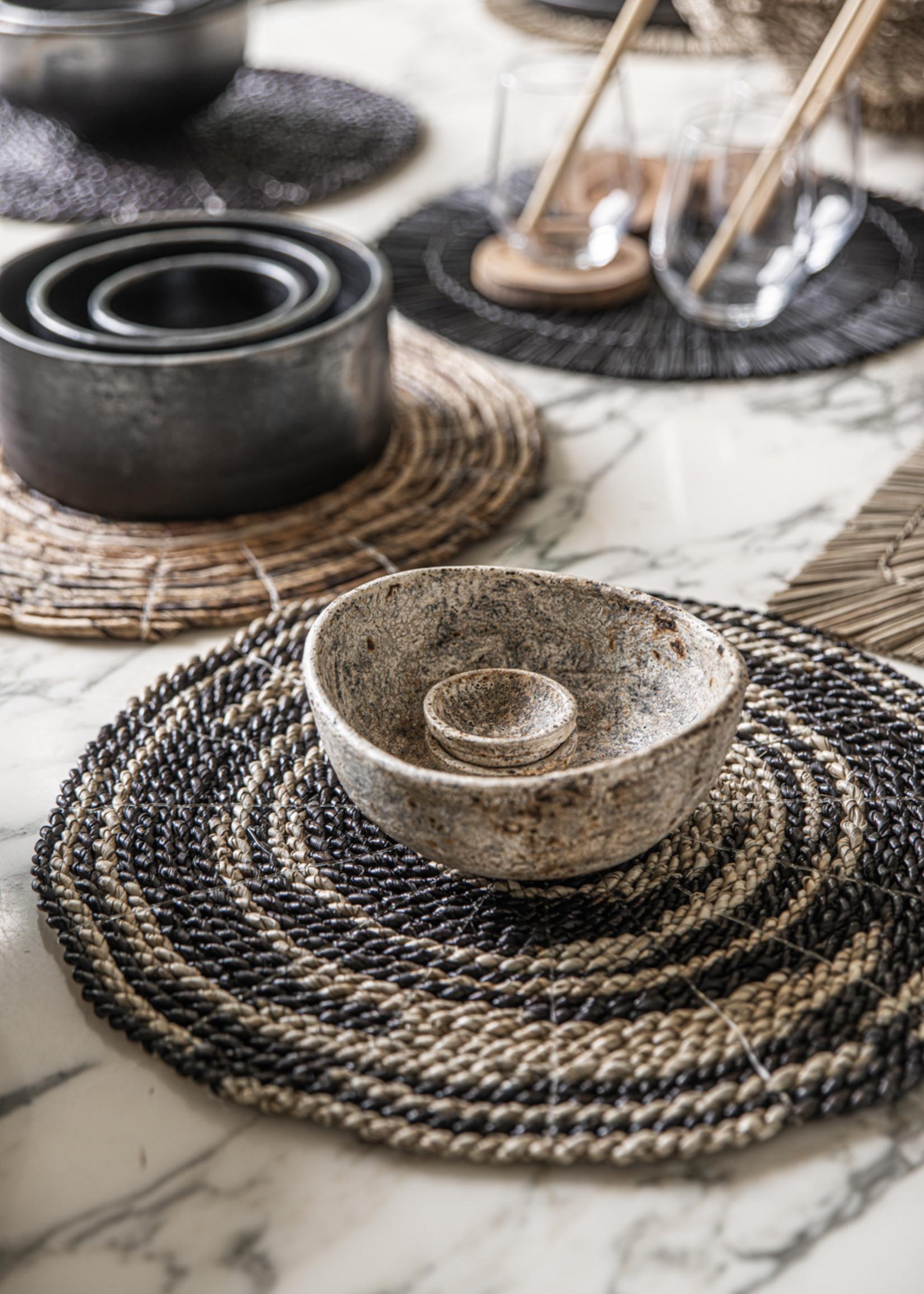 The Burned Curved Bowls - Antique - SET3
