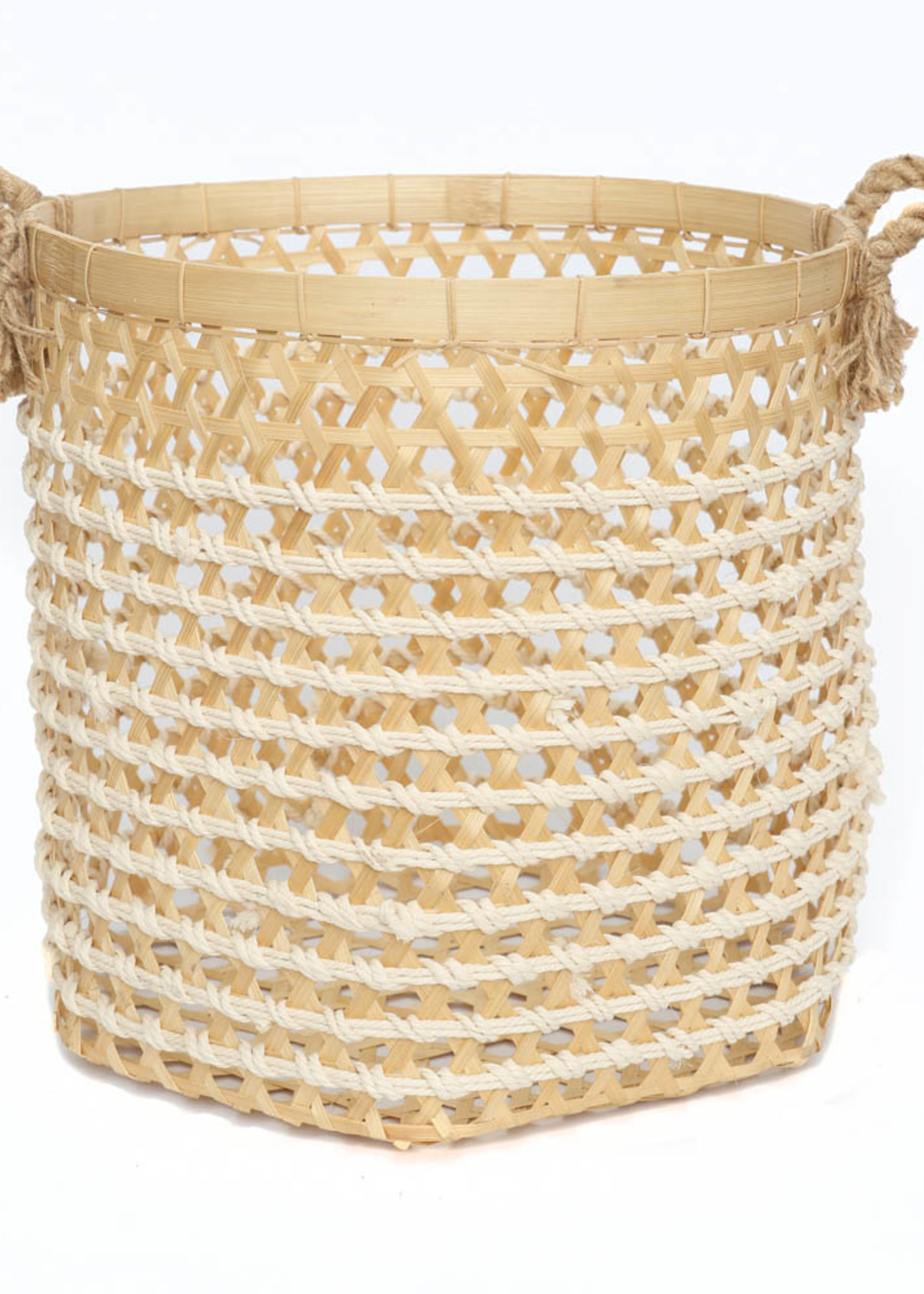 The Bamboo Macrame Baskets - Natural White - Large