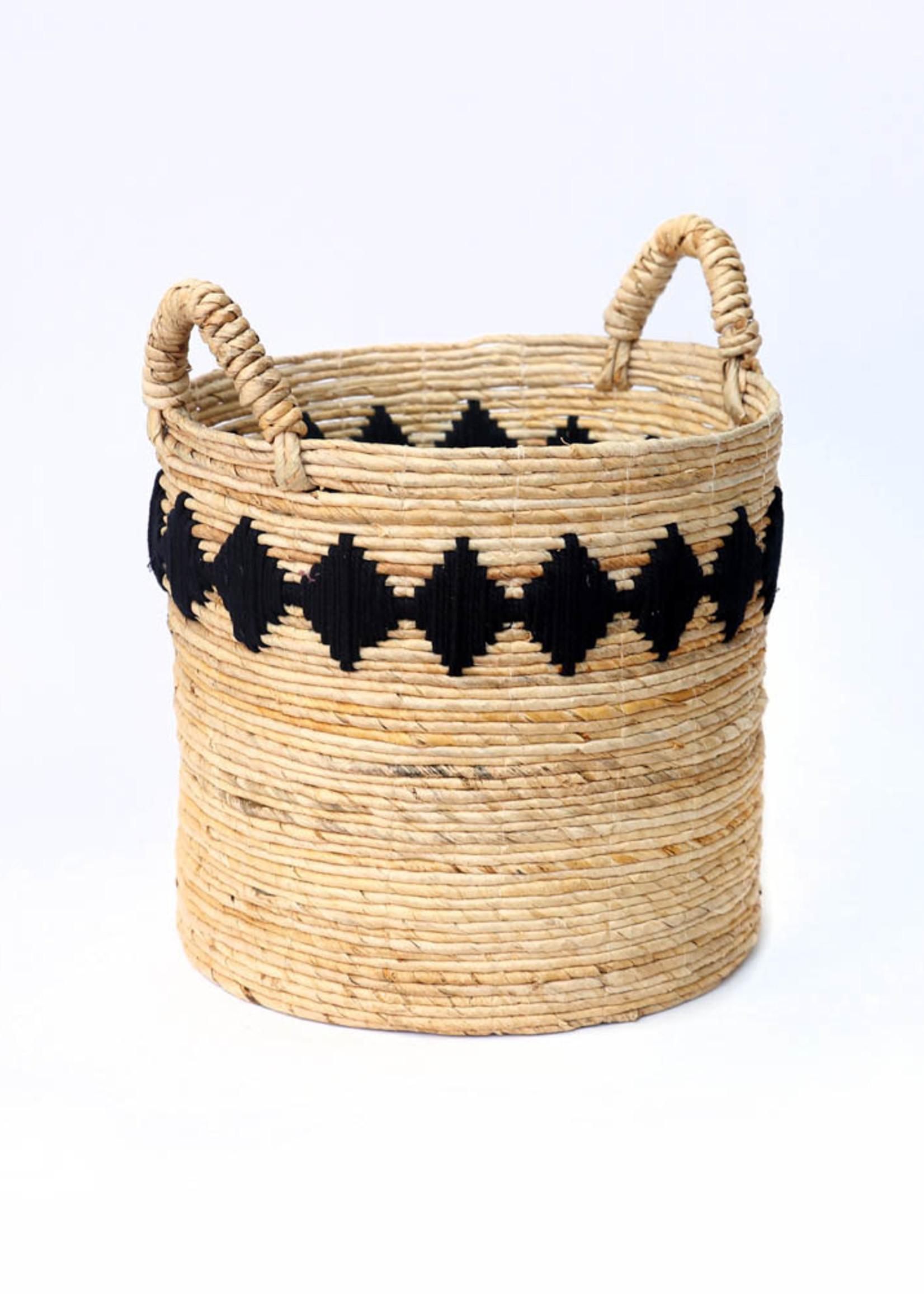 The Banana Stitched Baskets - Natural Black - Medium