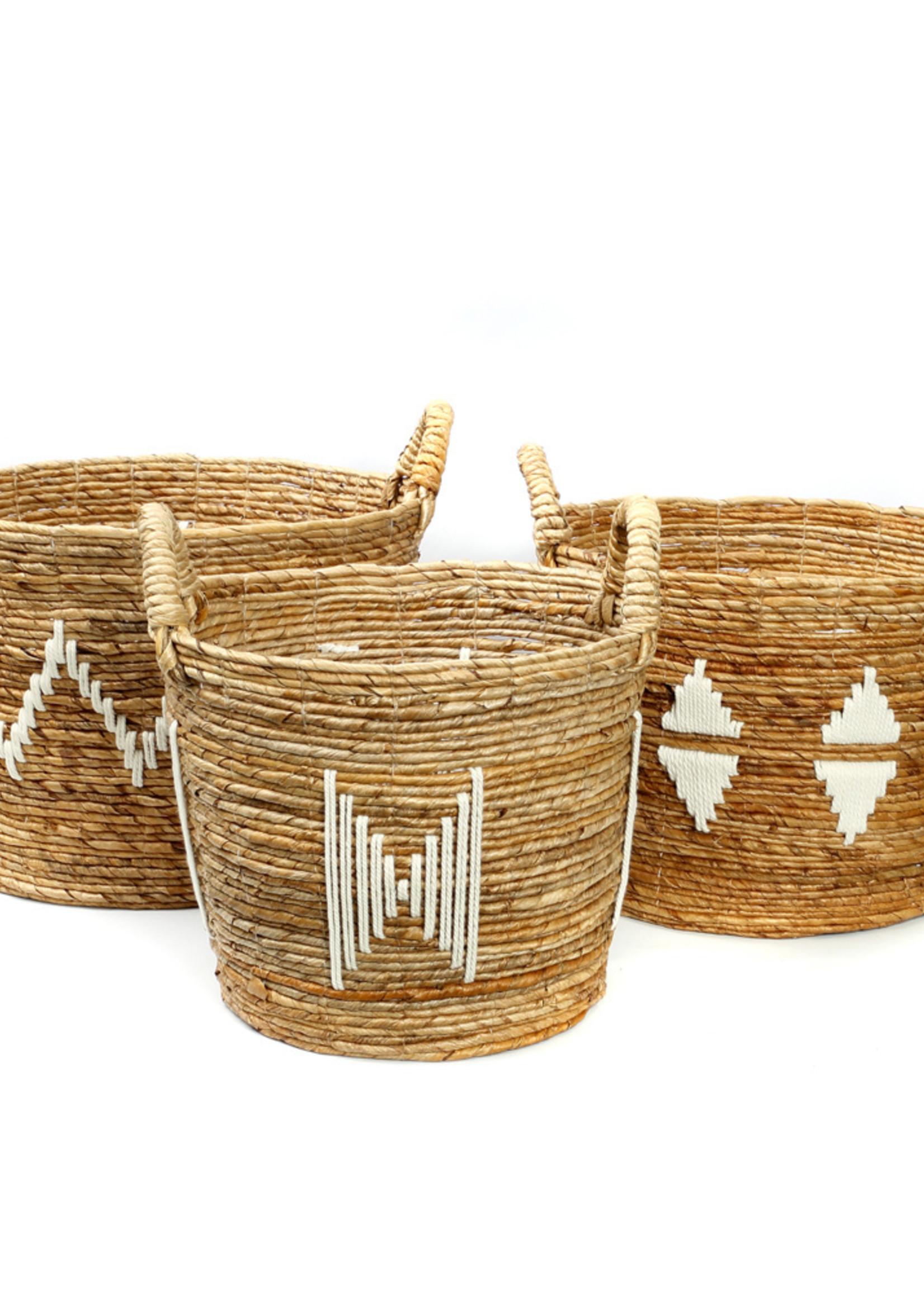 The Banana Stitched Baskets - Natural White - SET3
