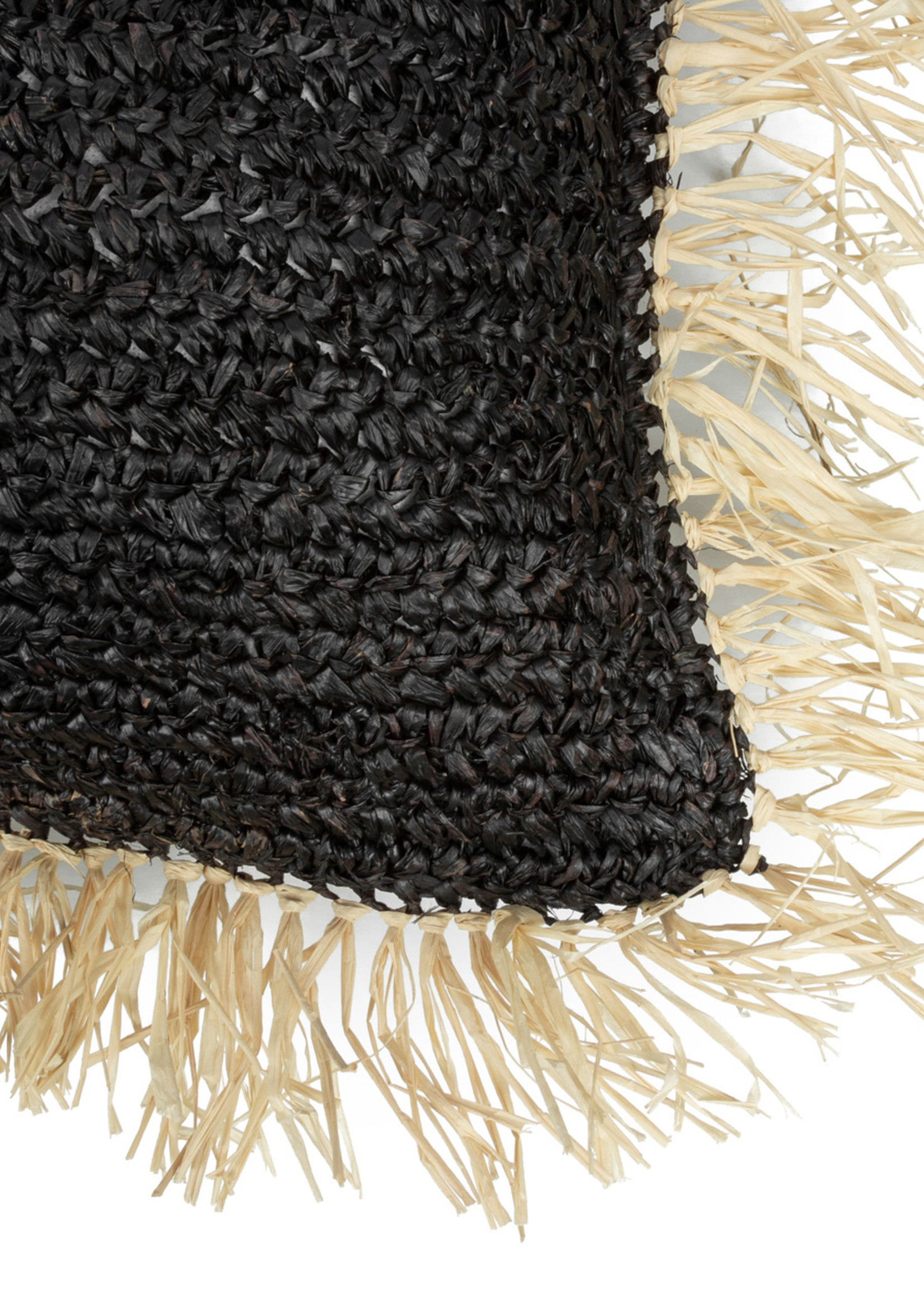 The Raffia Cushion Square - Black Natural - L