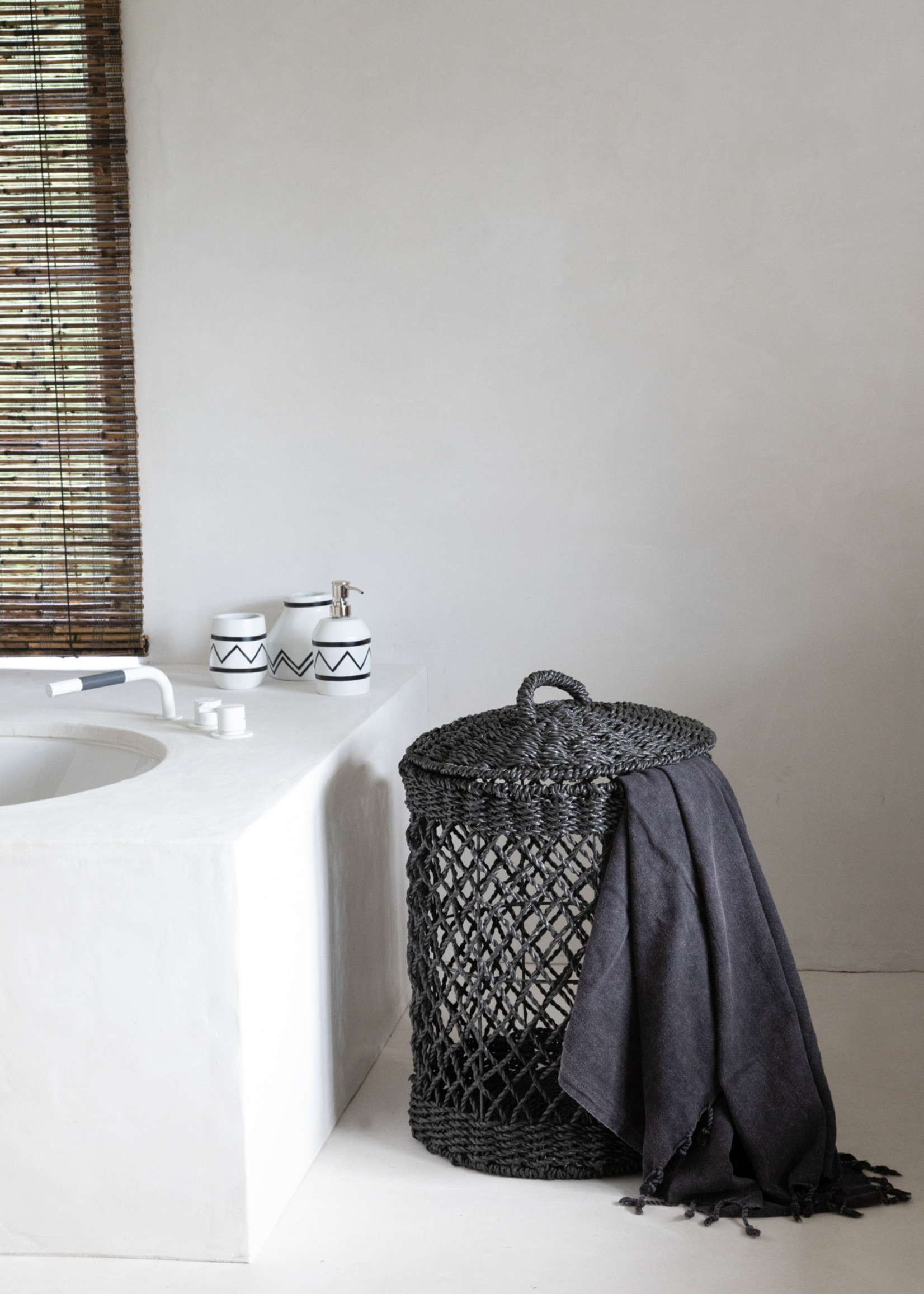 The Santorini Bathroom Mug -  White Black