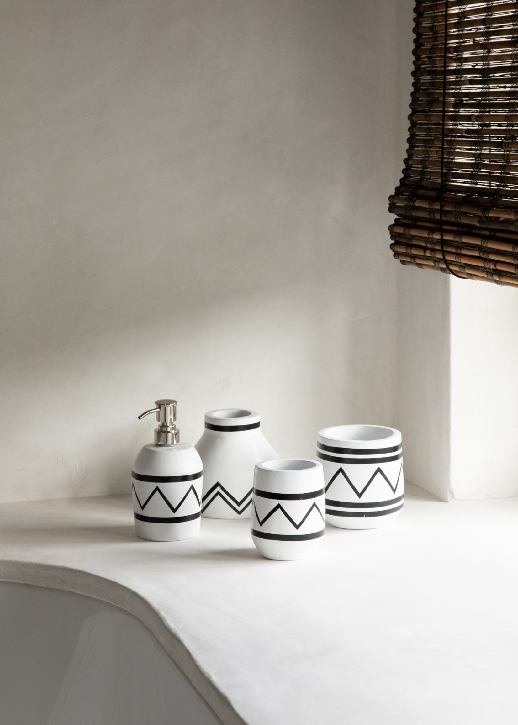 The Santorini Conic Vase  -  White Black