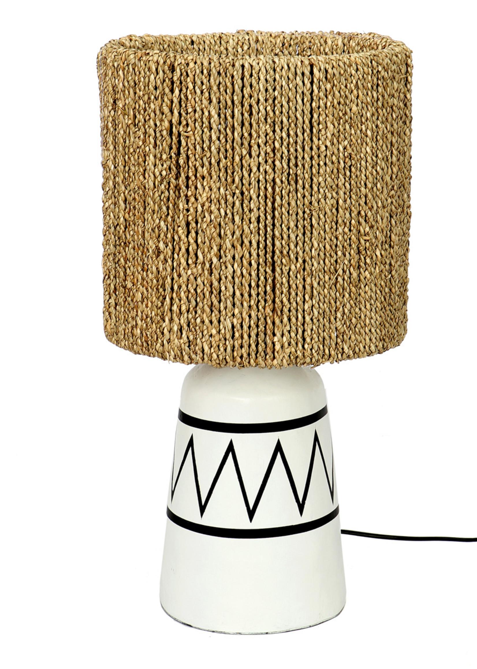 The Santorini Table Lamp - White Black and Natural
