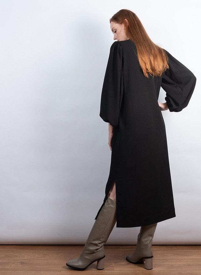 Heavy crêpe jurk zwart