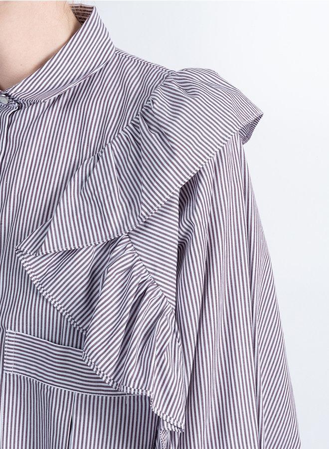 Morter shirt bruin streep