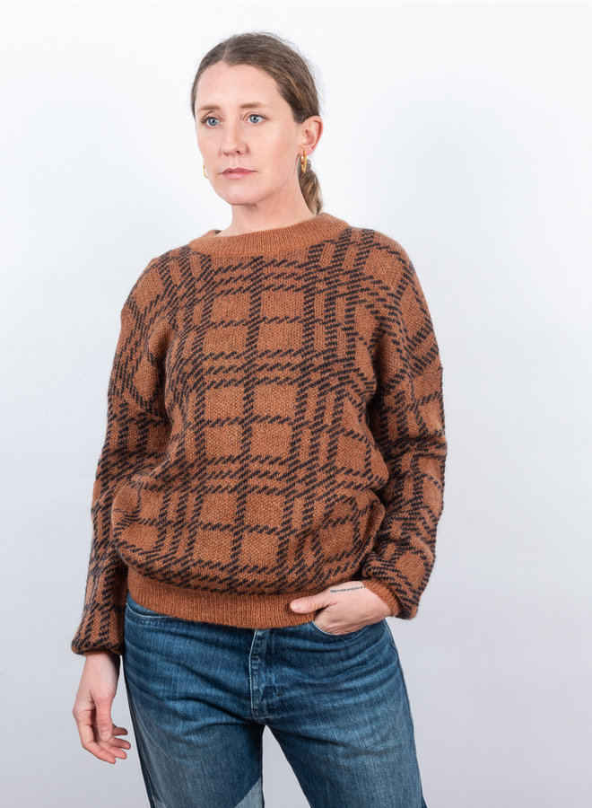 Sadie check sweater bruin