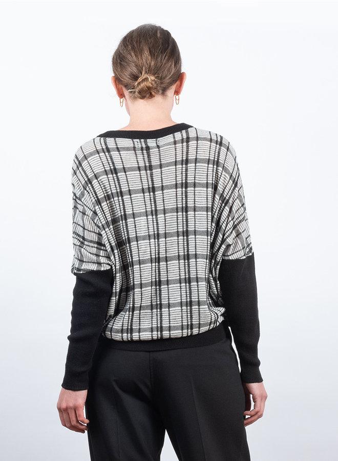 Check sweater zwart