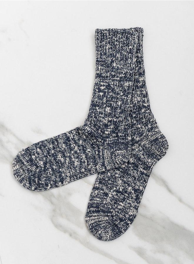Low gauge slub  socks  navy