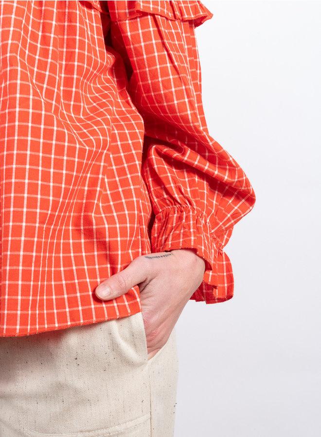 Dakota blouse ruit  rood